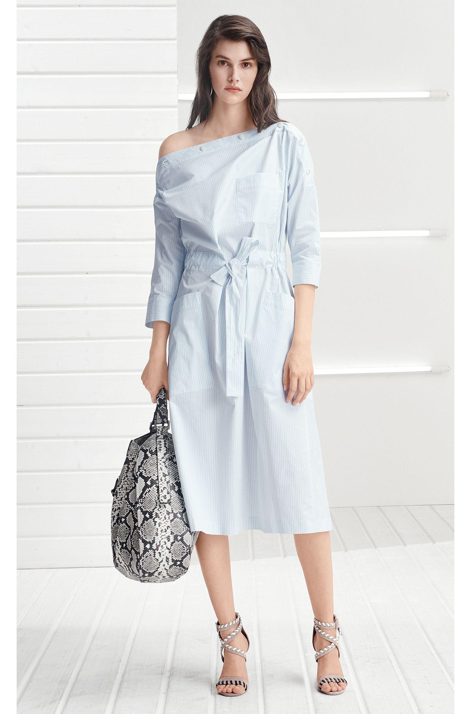 Button-neckline striped summer dress BOSS
