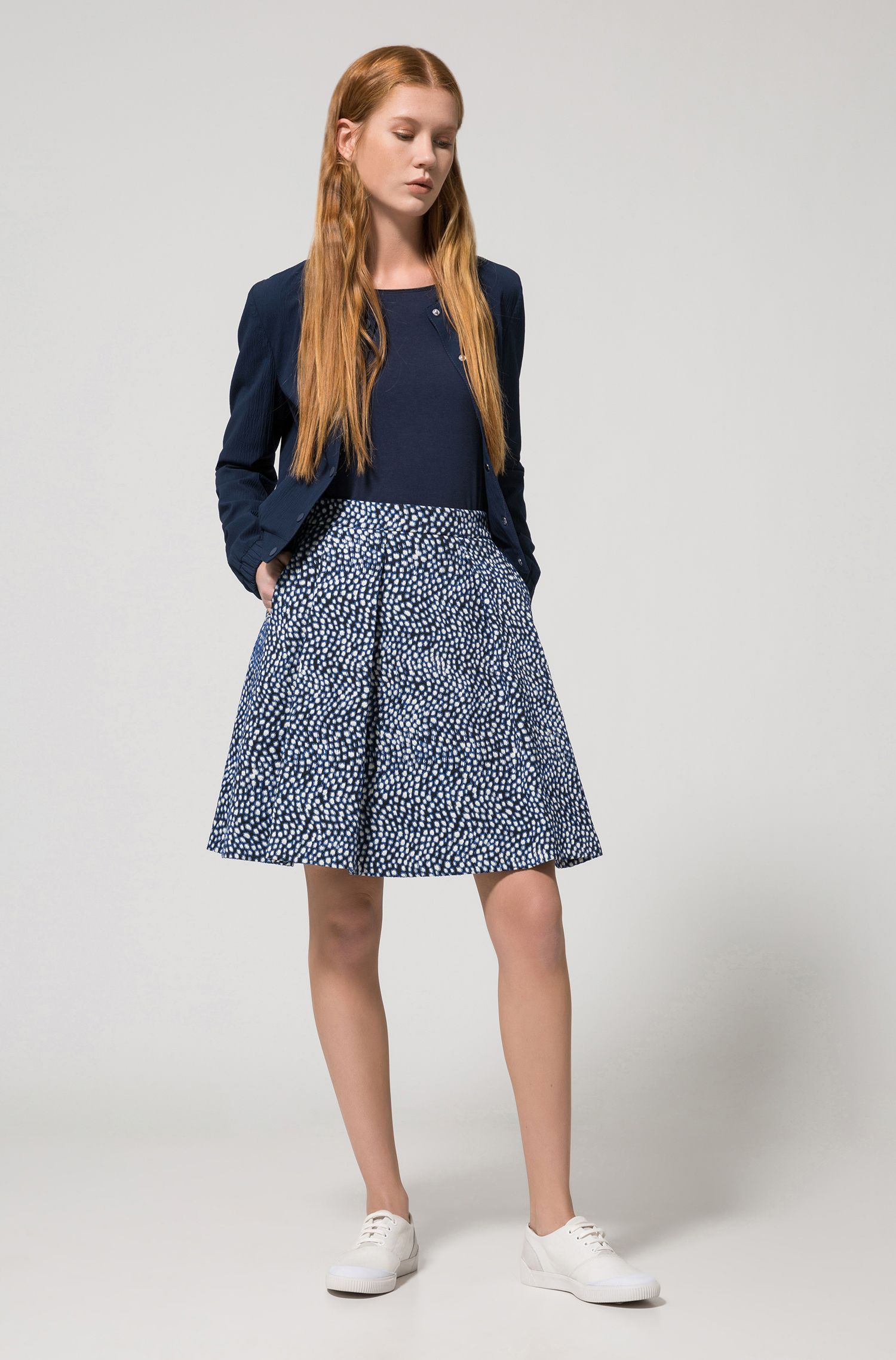 A-line skirt in stretch cotton-blend jacquard