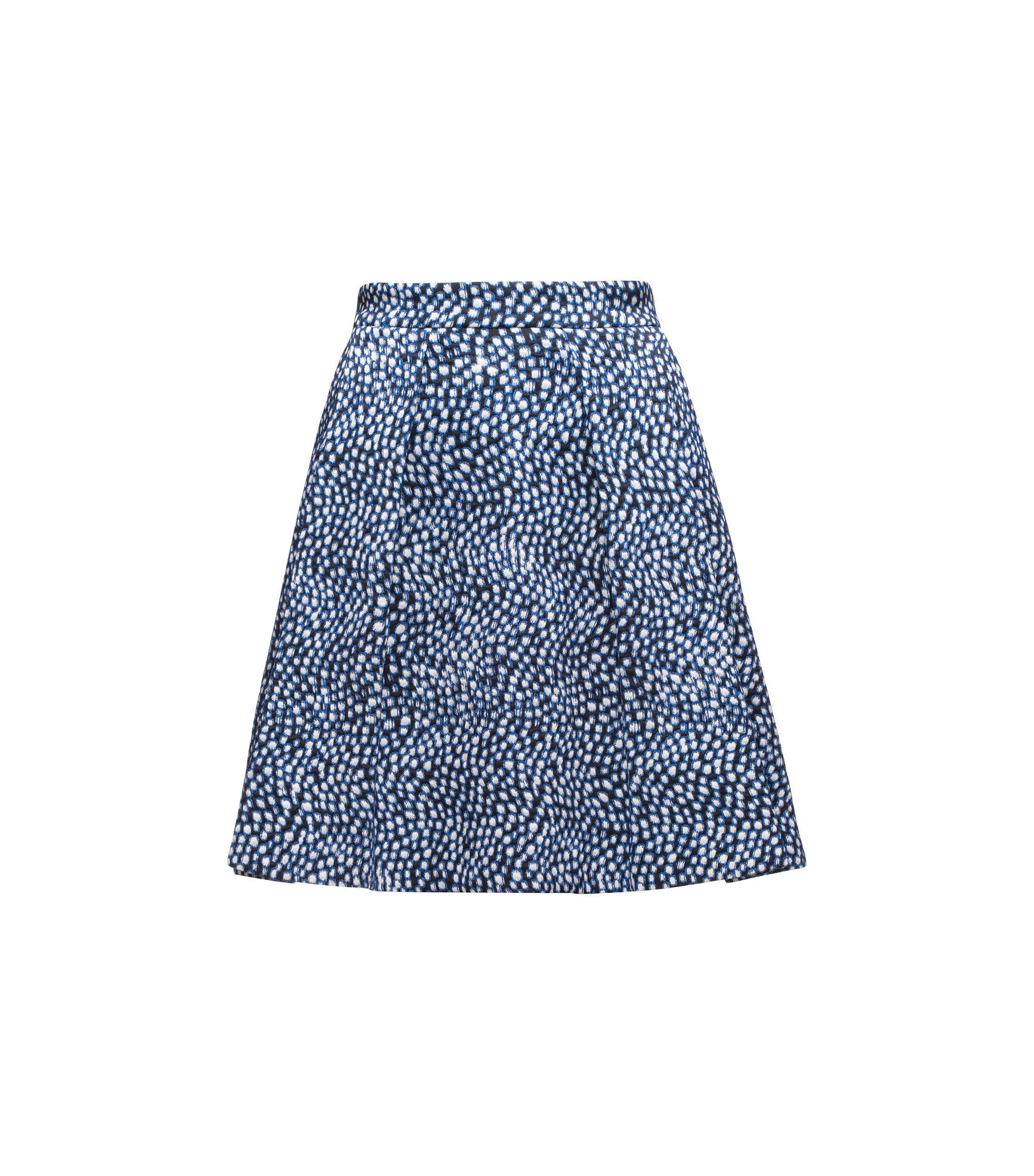 A-line skirt in stretch cotton-blend jacquard, Patterned