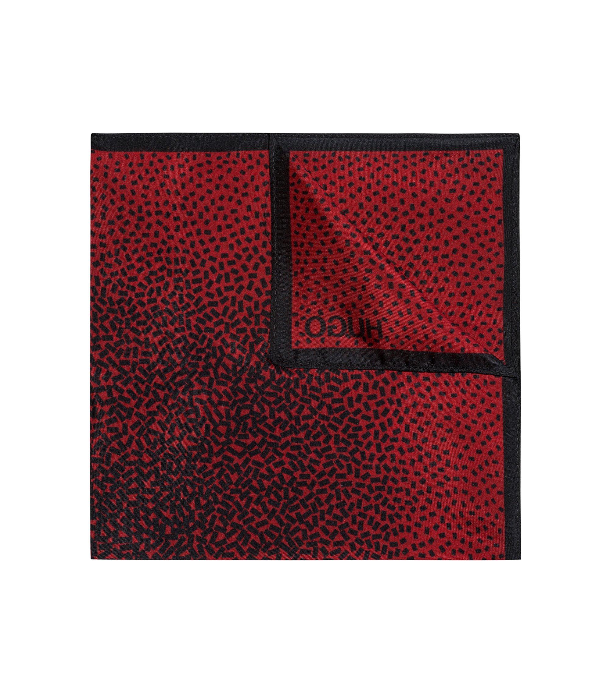 Geometric degradé pocket square in silk chiffon , Rouge