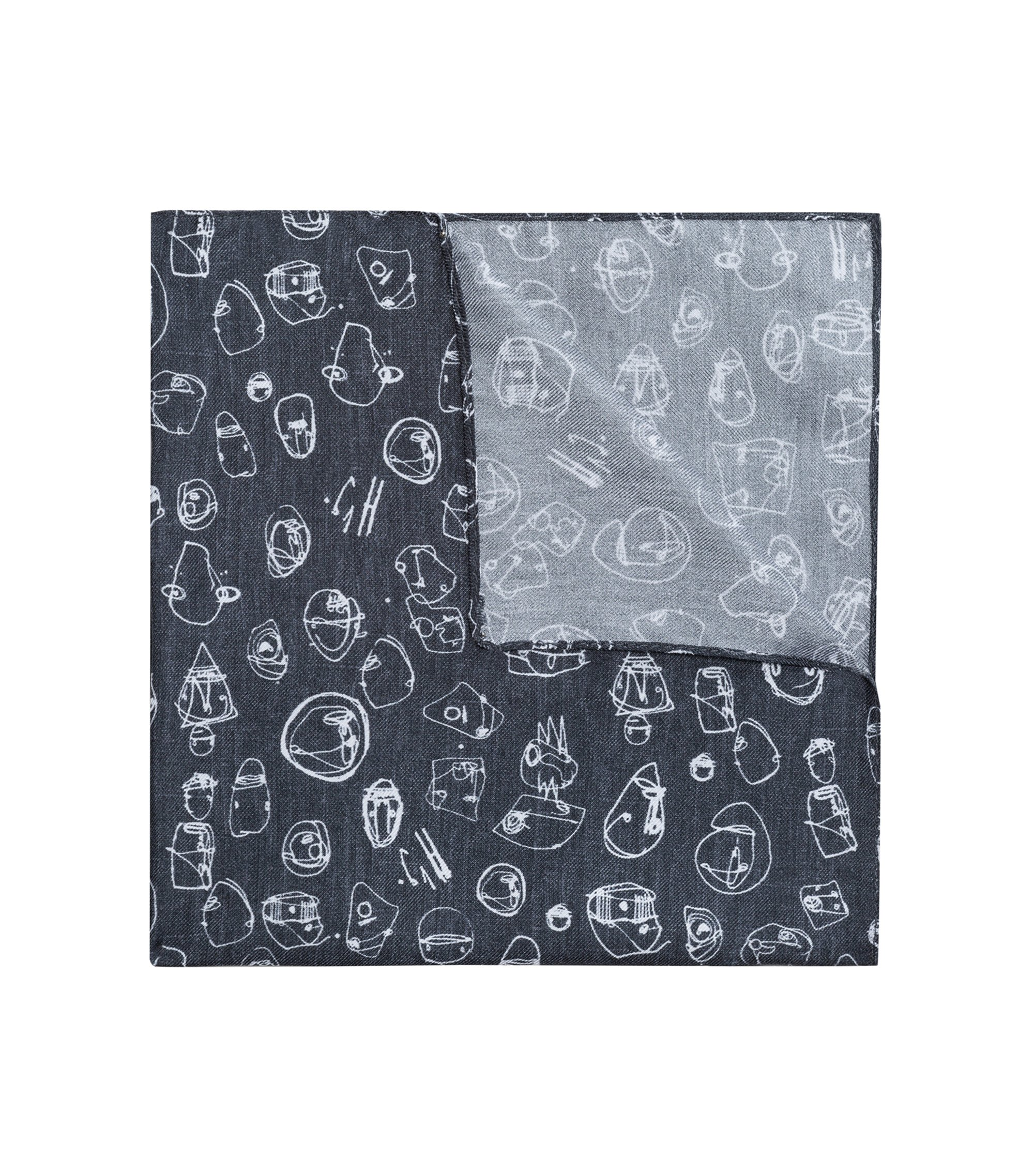 Graffiti-print pocket square in silk twill, Black