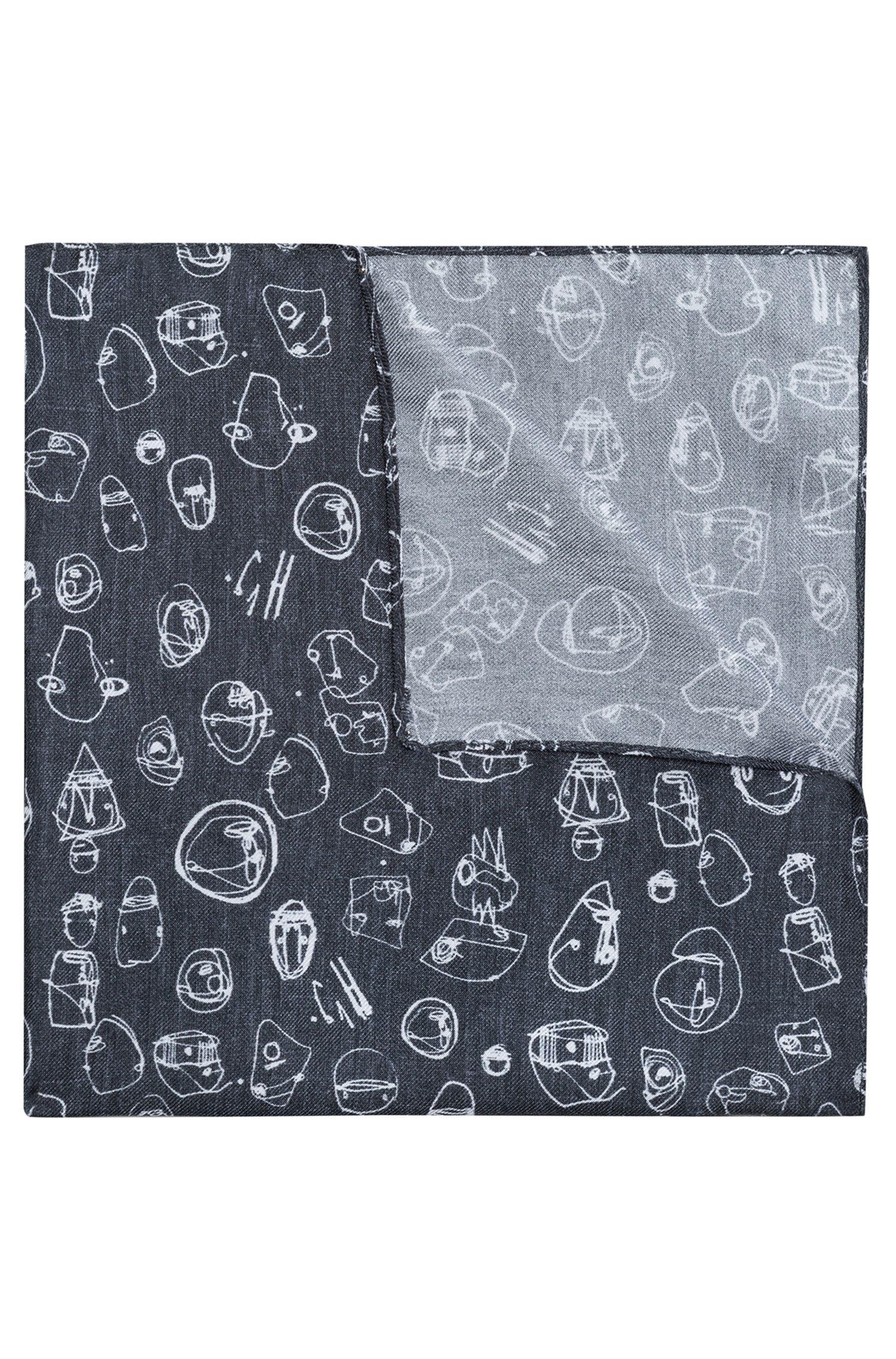Pochette da taschino in twill di seta con stampa graffiti
