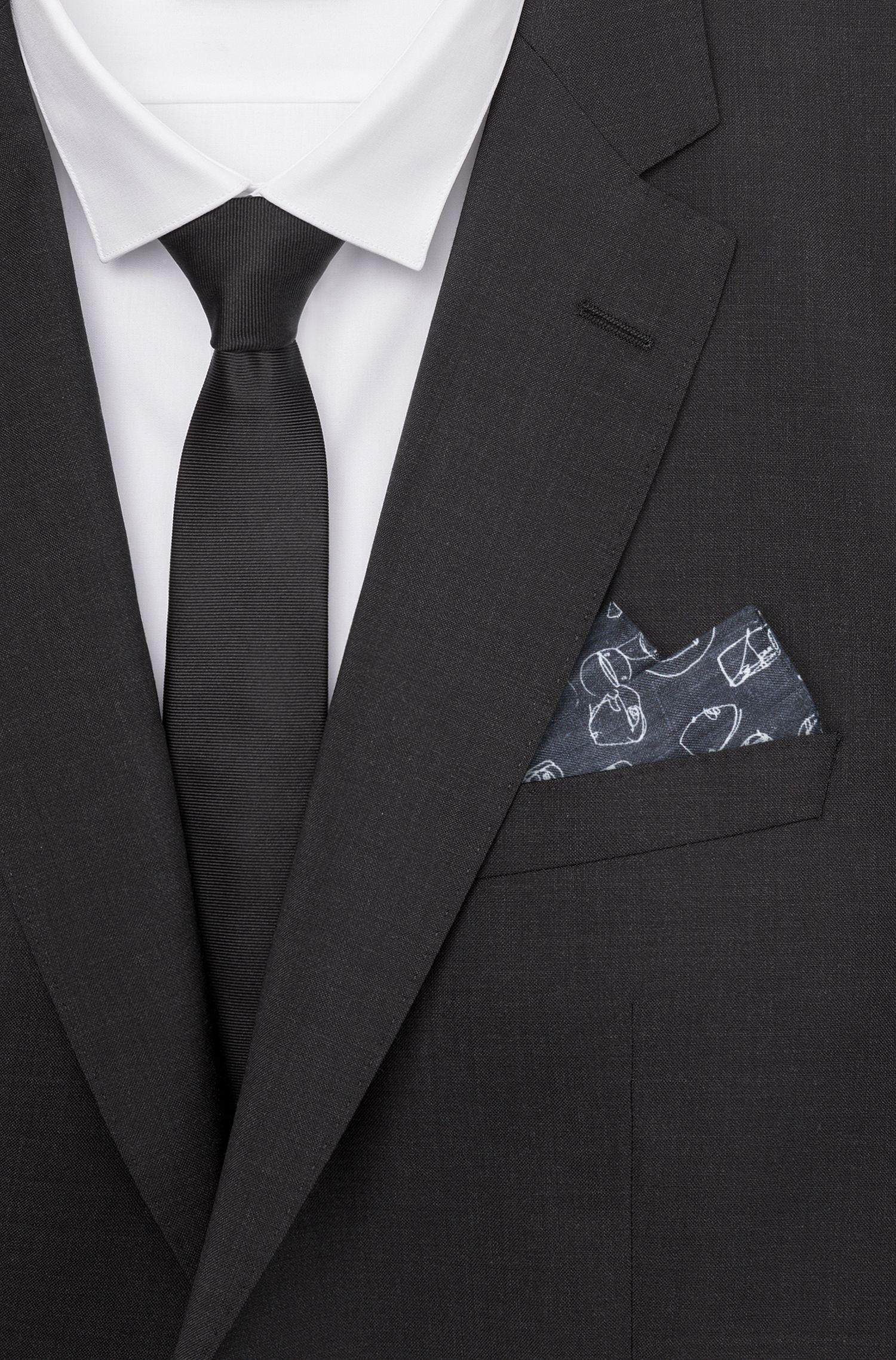 Graffiti-print pocket square in silk twill HUGO BOSS