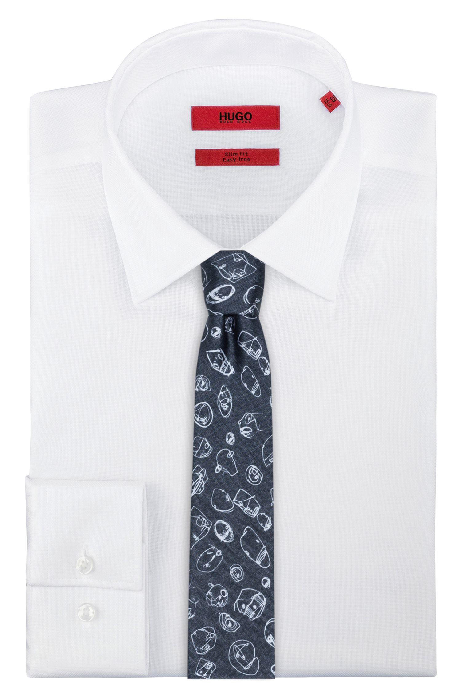 Gerade geschnittene Seiden-Krawatte mit Graffiti-Print
