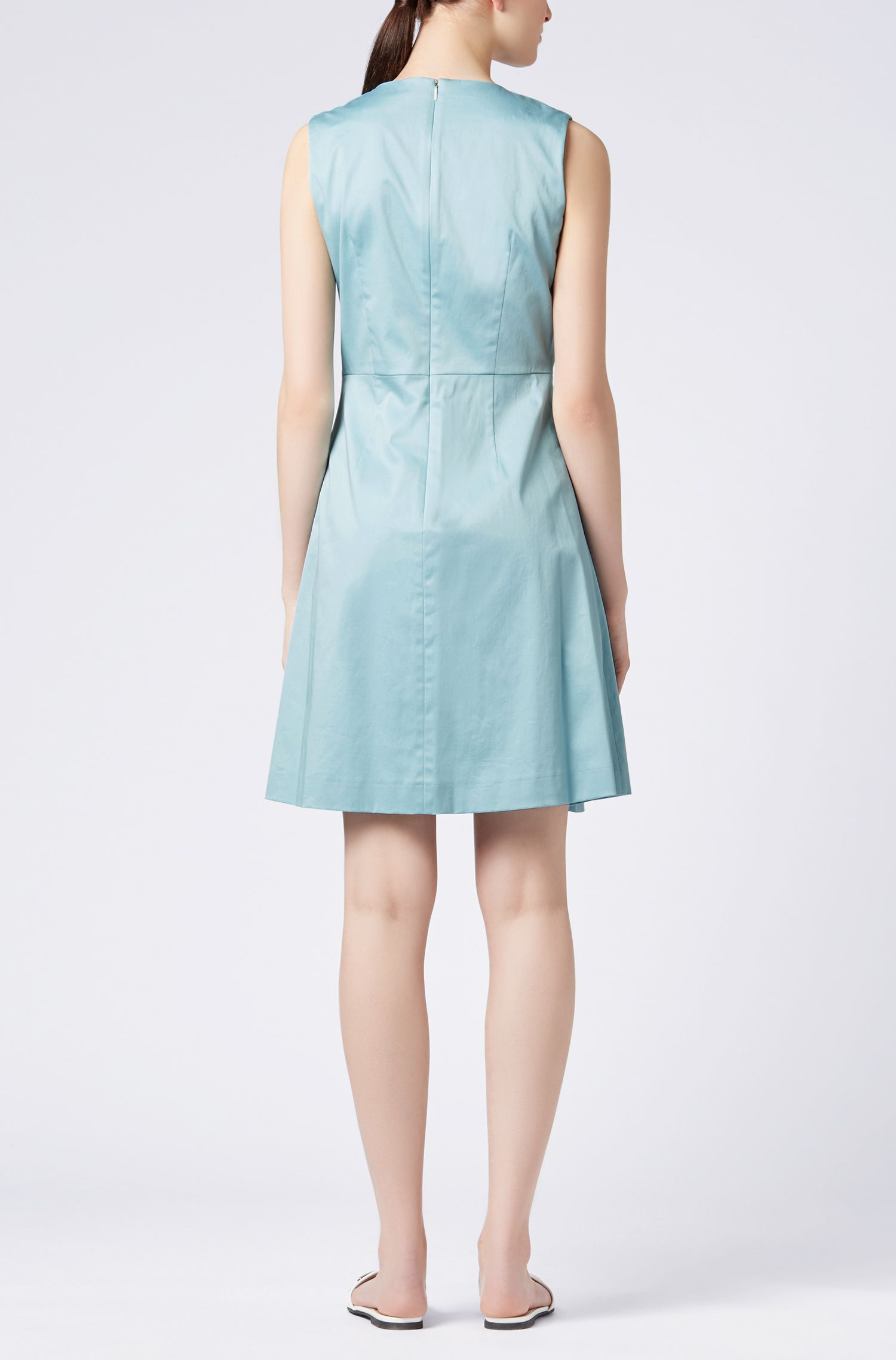 Stretch-cotton dress with scoop neck BOSS