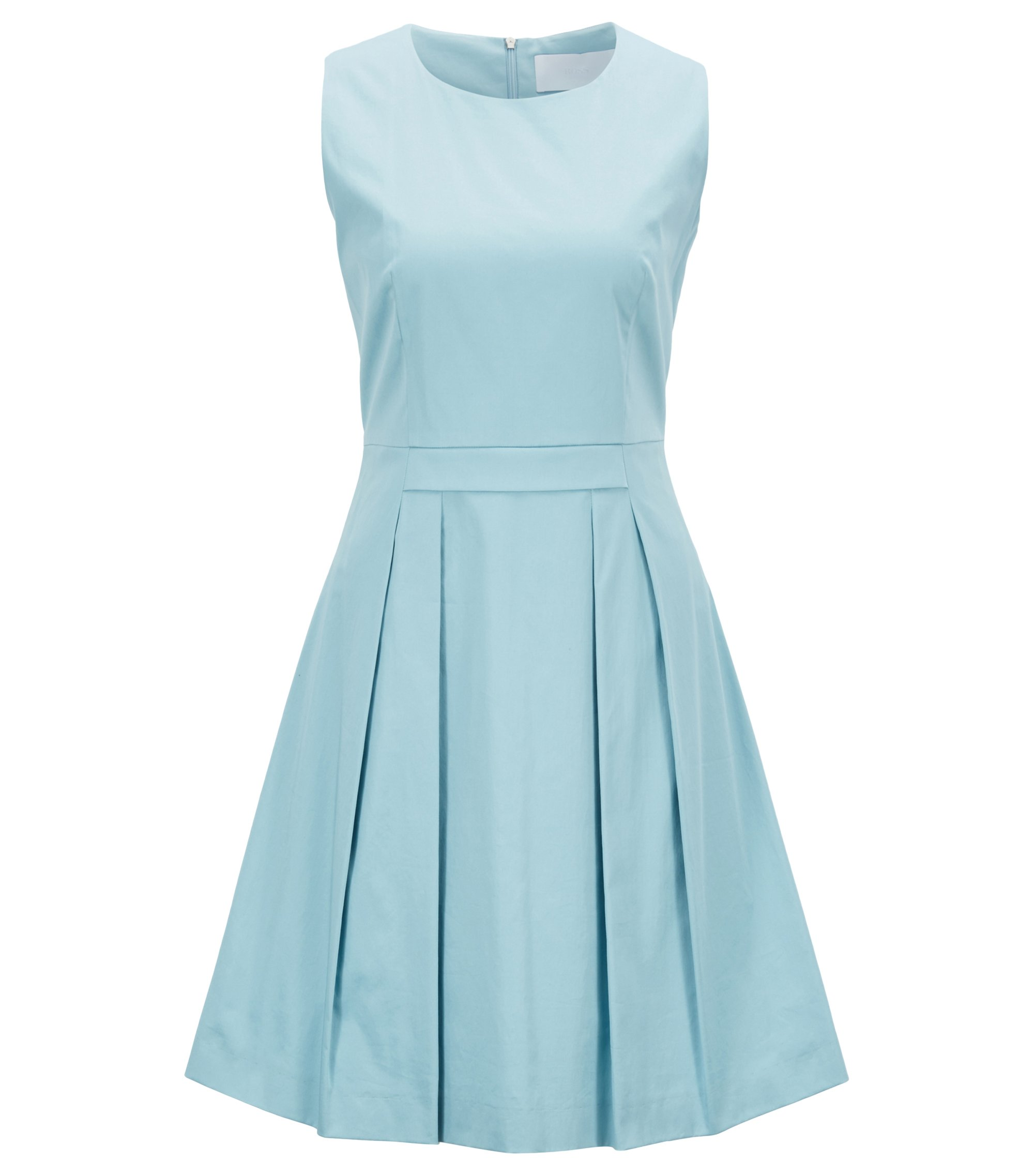 Stretch-cotton dress with scoop neck, Light Blue