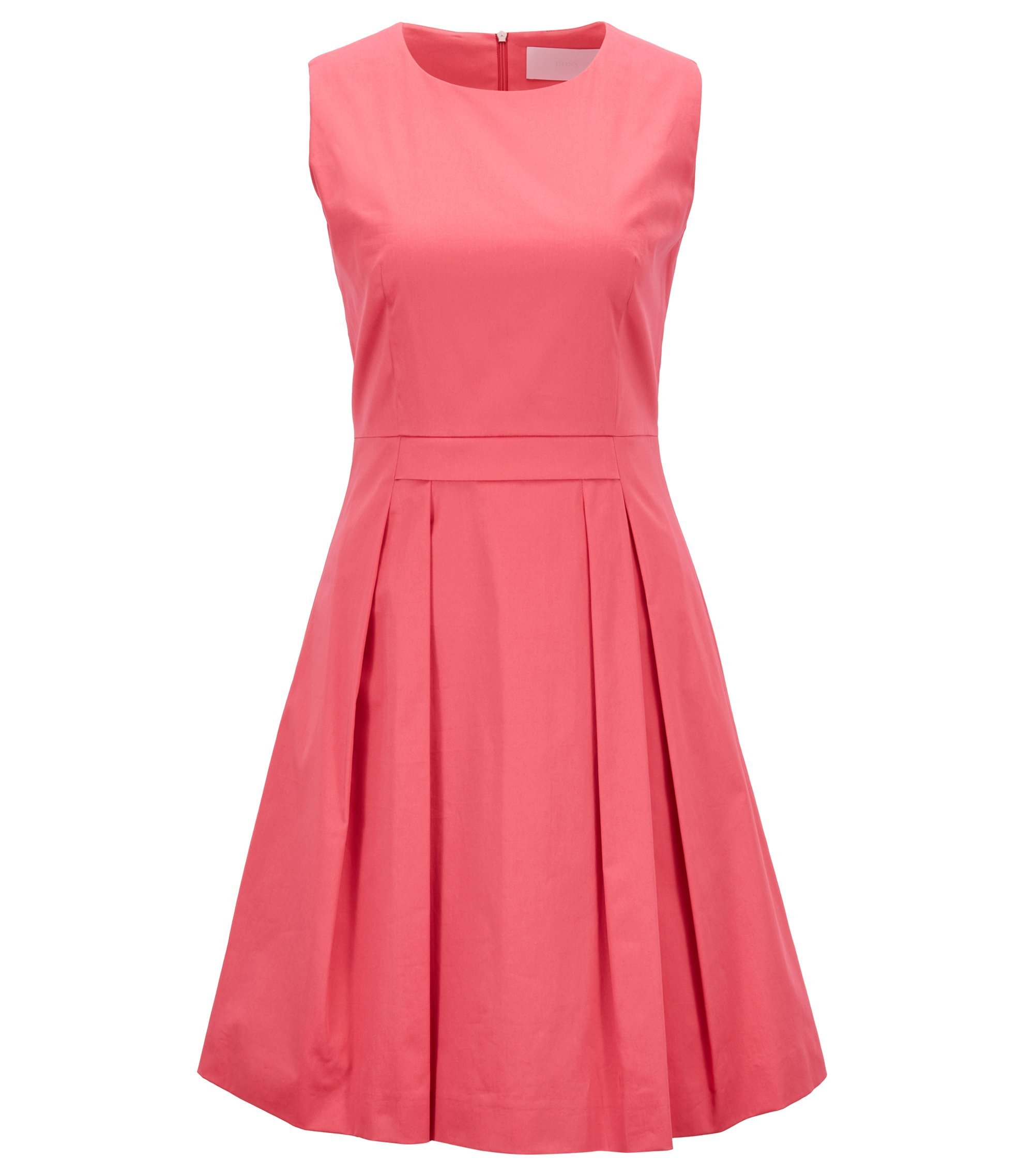 Stretch-cotton dress with scoop neck, Open Pink