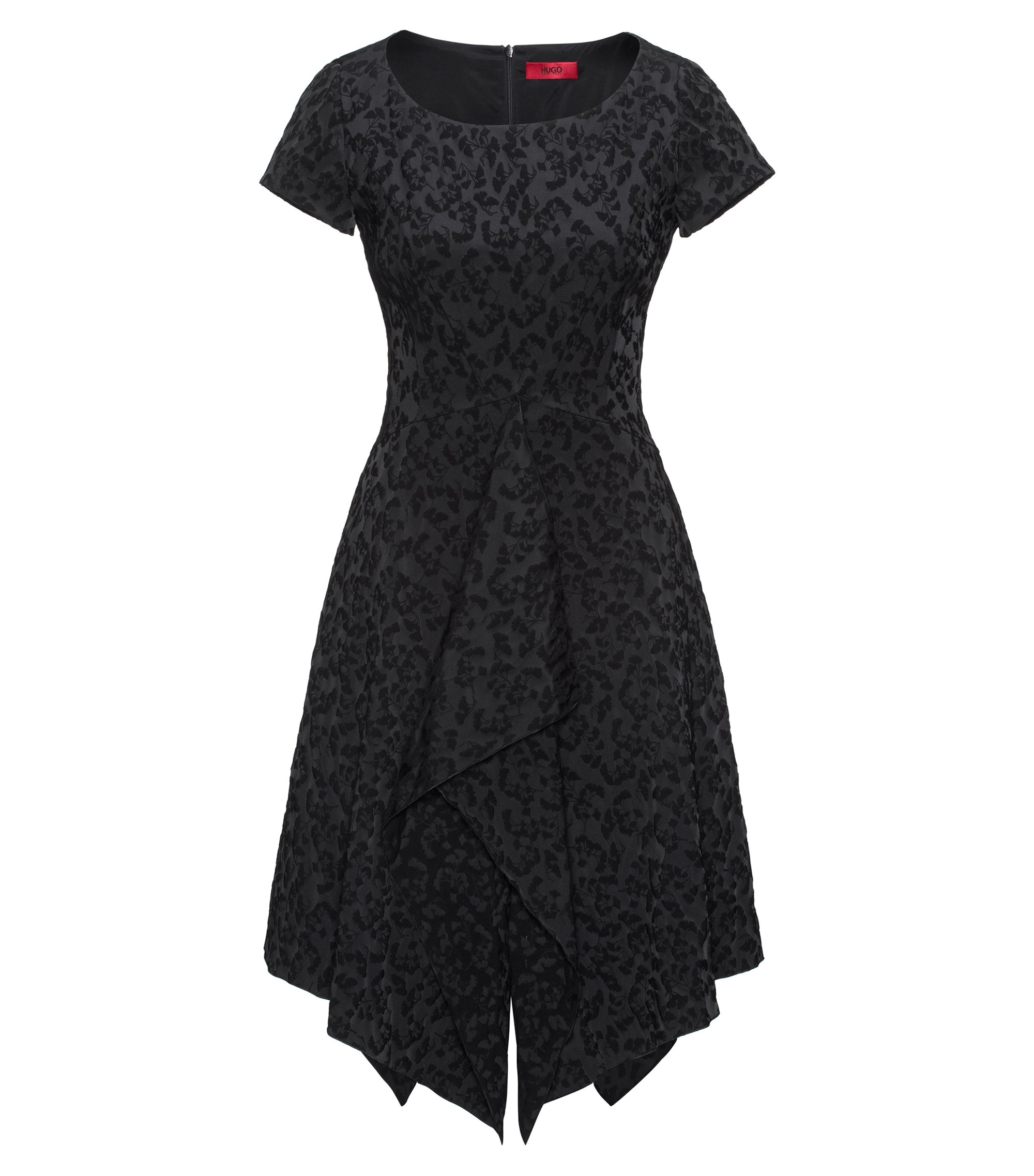 Floral jacquard dress with drape front, Black