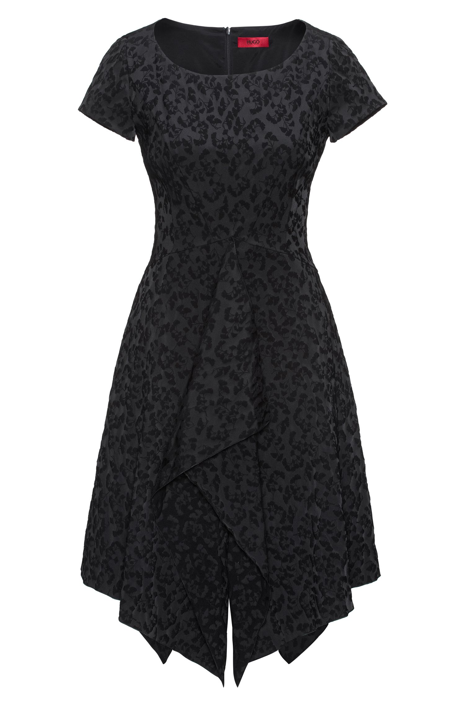Floral jacquard dress with drape front