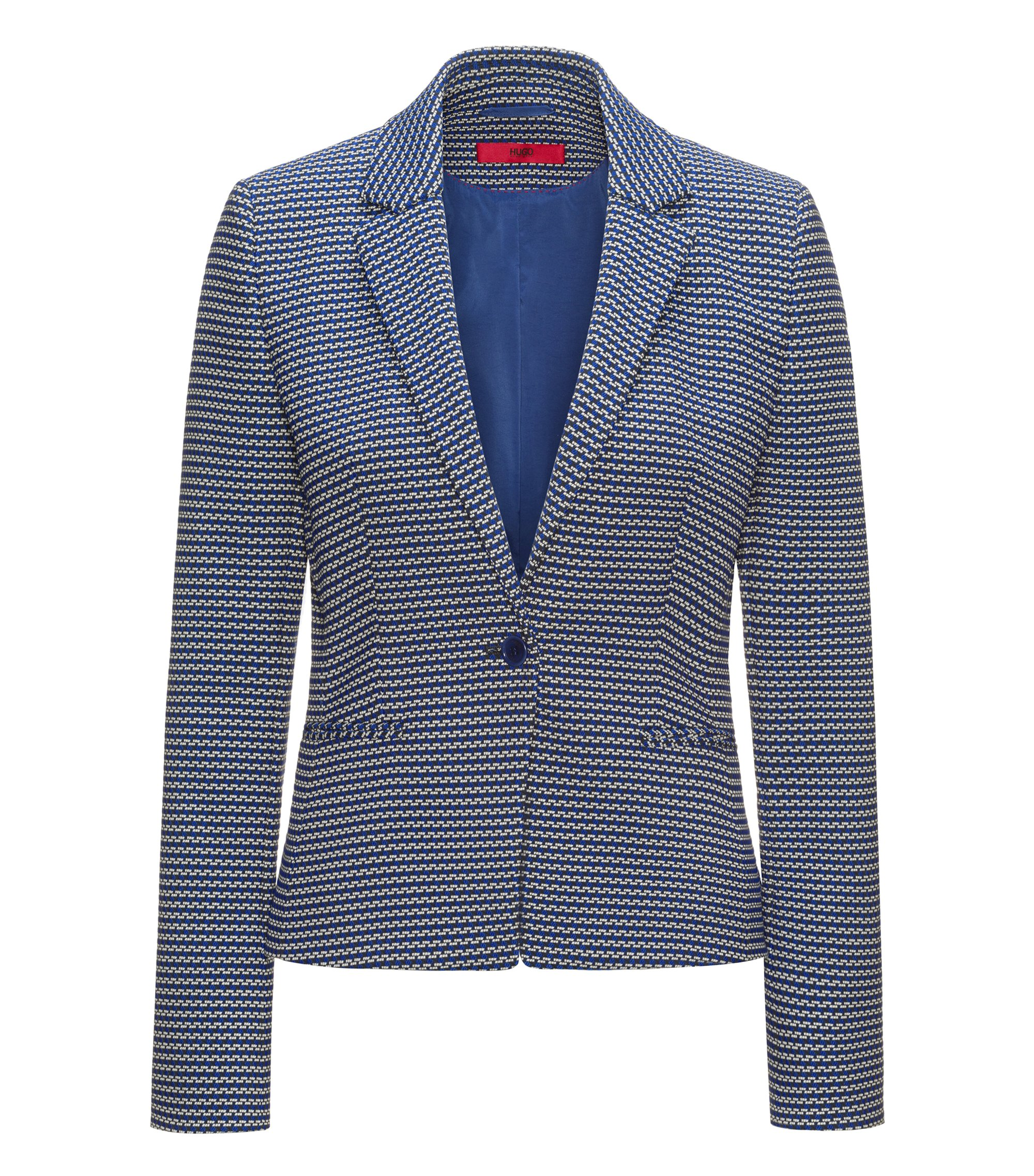 Slim-fit jacket in cotton-blend graphic jacquard, Patterned