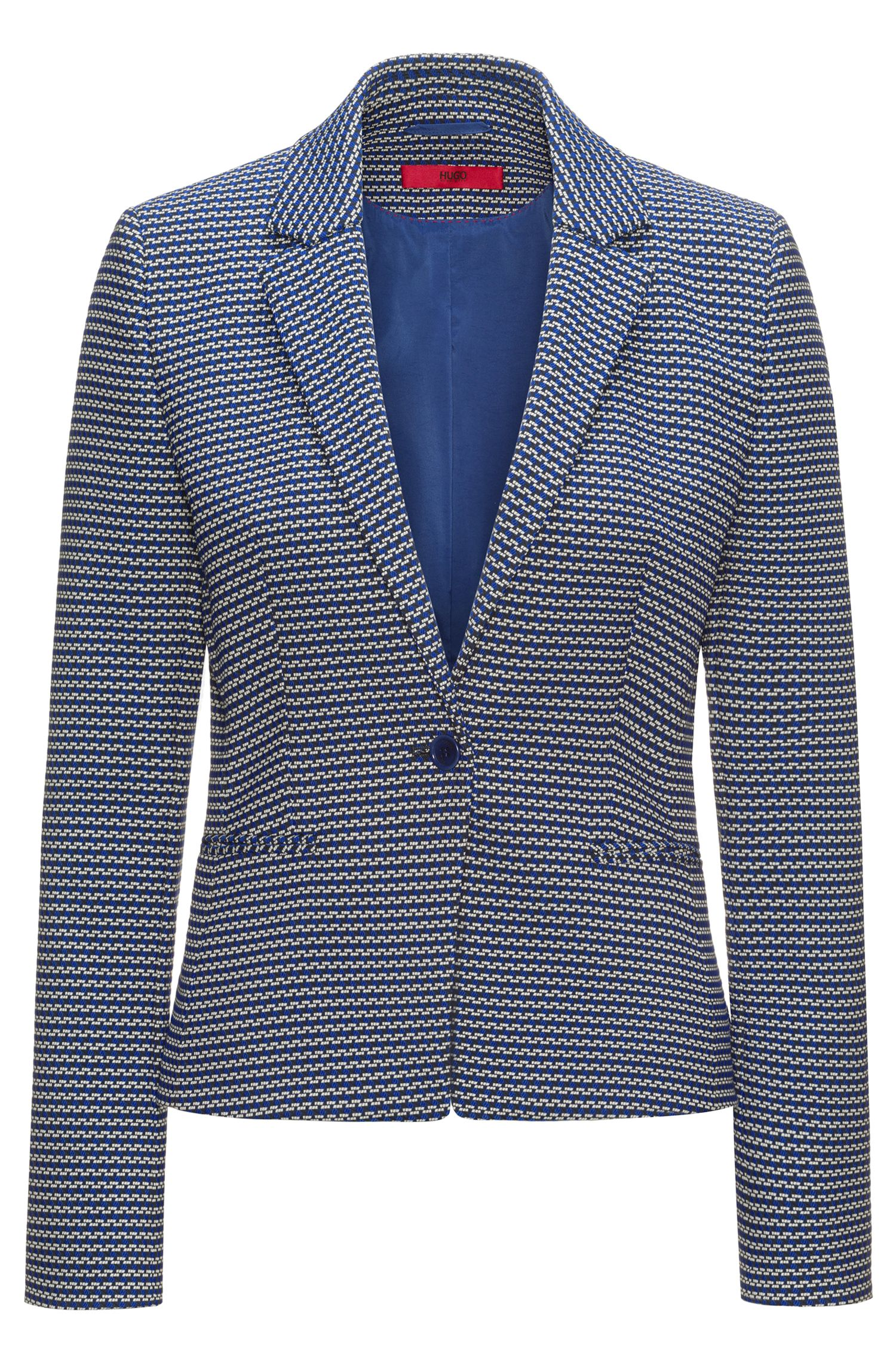 Slim-fit jacket in cotton-blend graphic jacquard