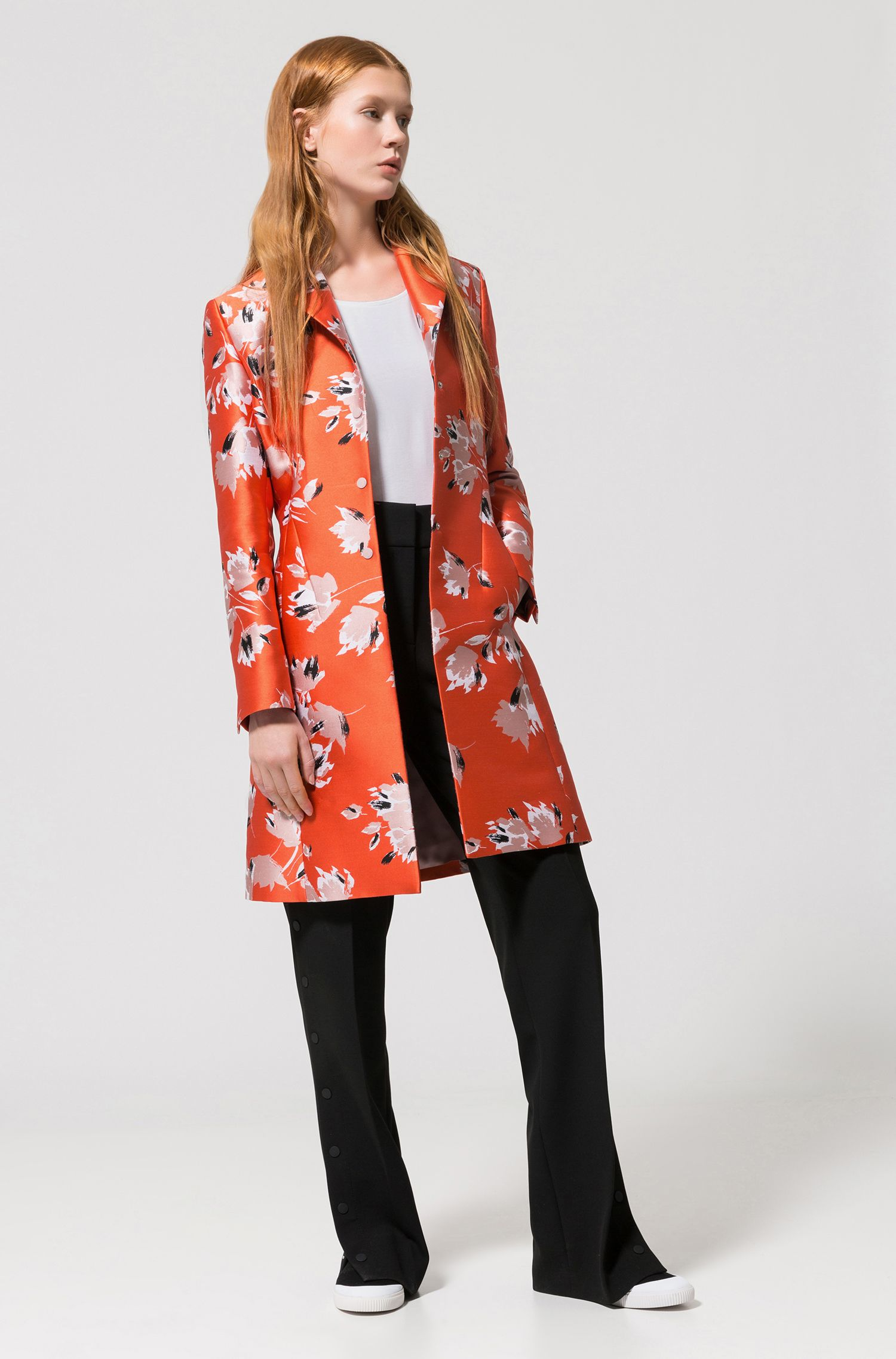 Abstract-floral coat in a technical jacquard