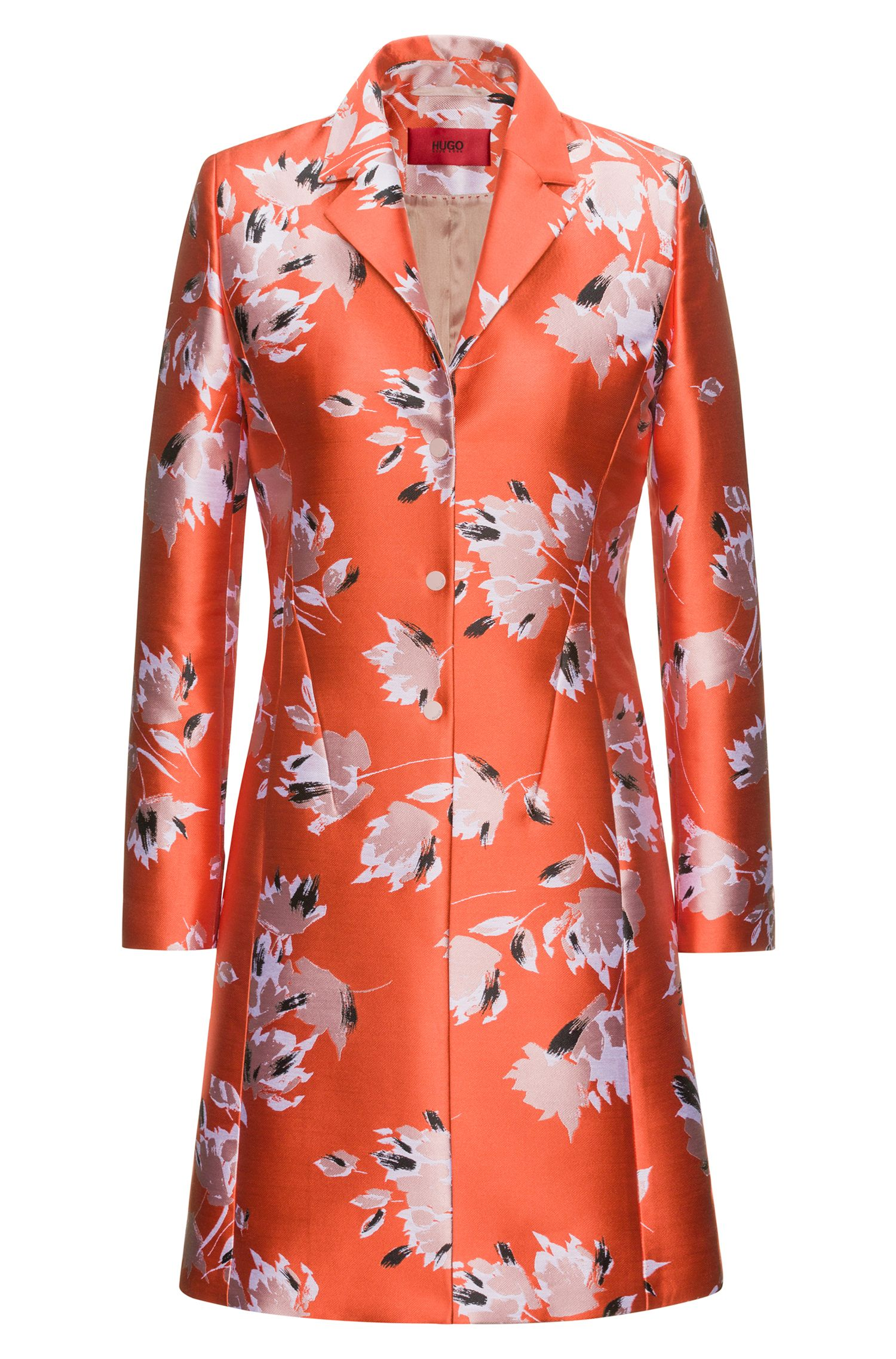 Manteau en jacquard technique à motif floral abstrait