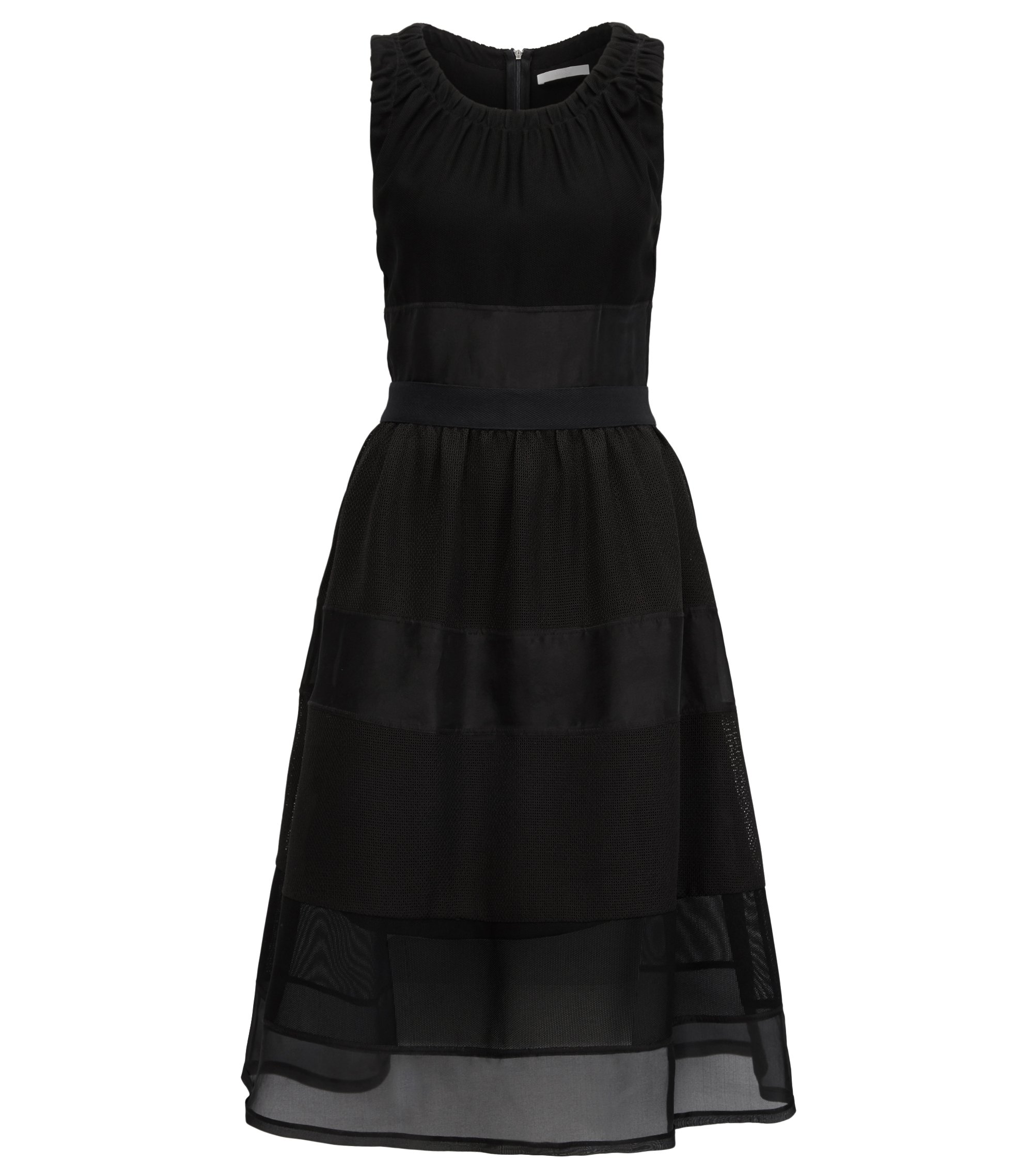 Sleeveless blocked dress with silk trims, Black