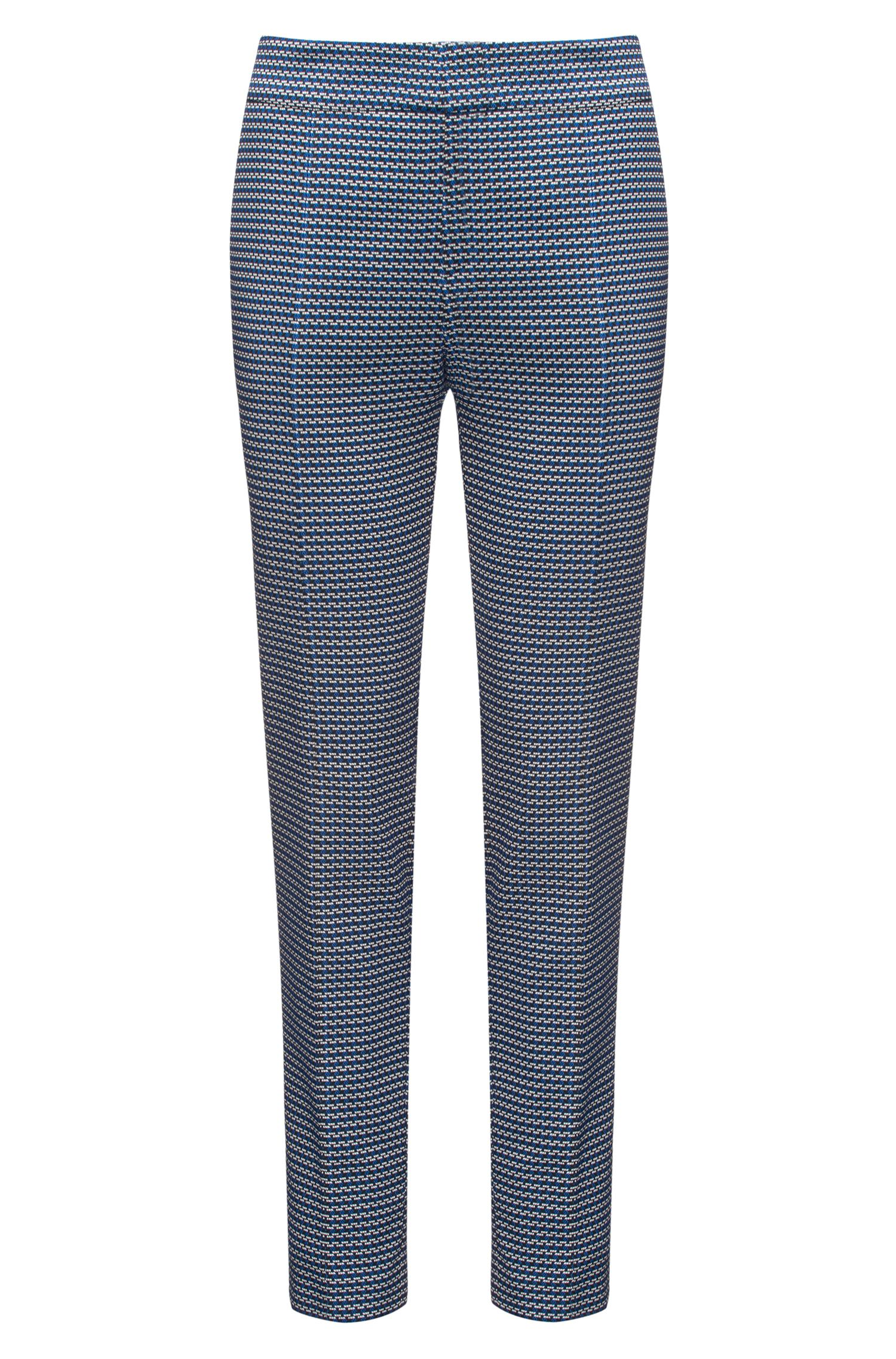 Slim-fit cropped trousers in cotton-blend jacquard