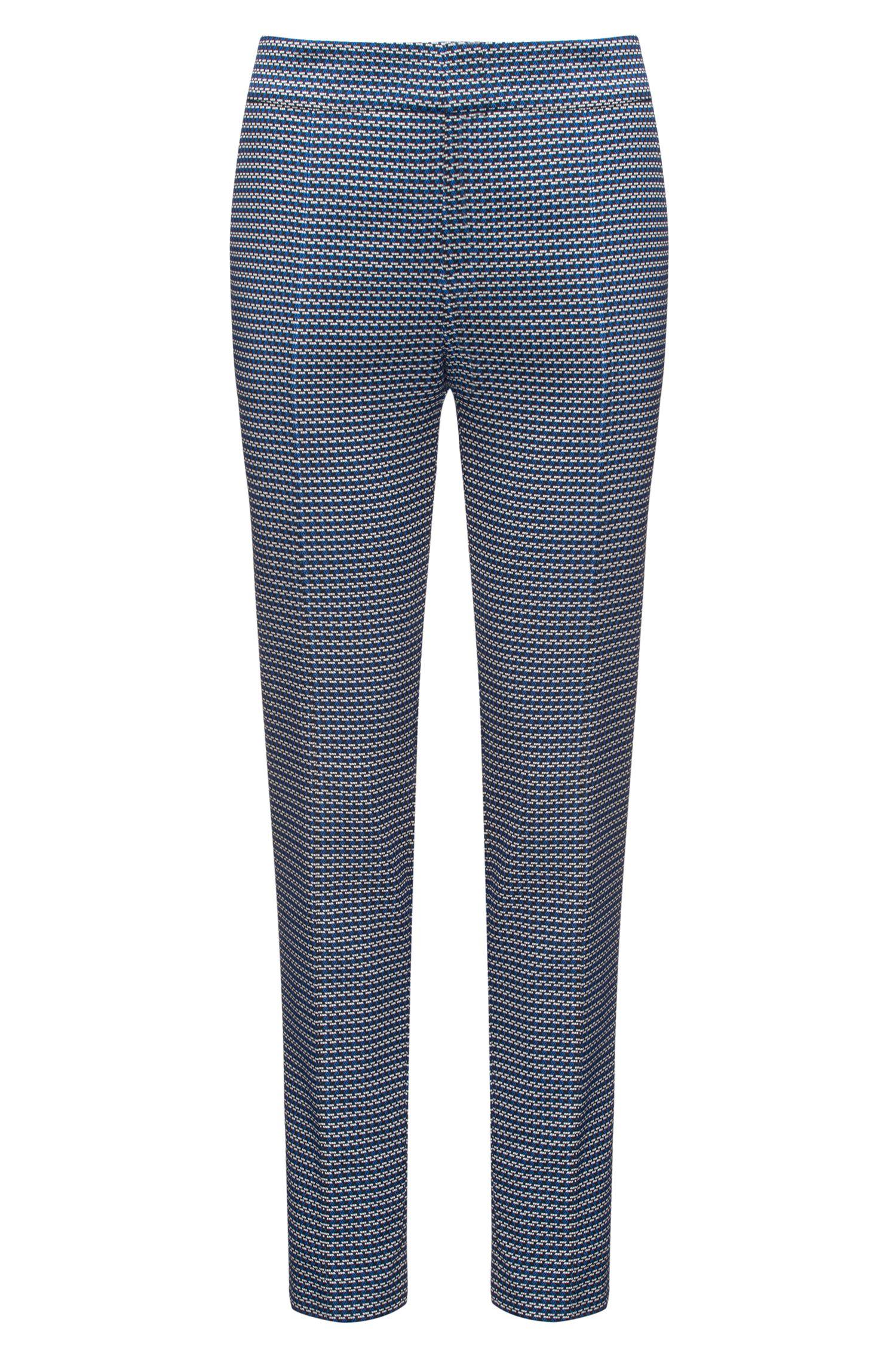 Slim-Fit Jacquard-Hose aus elastischem Baumwoll-Mix in Cropped-Länge