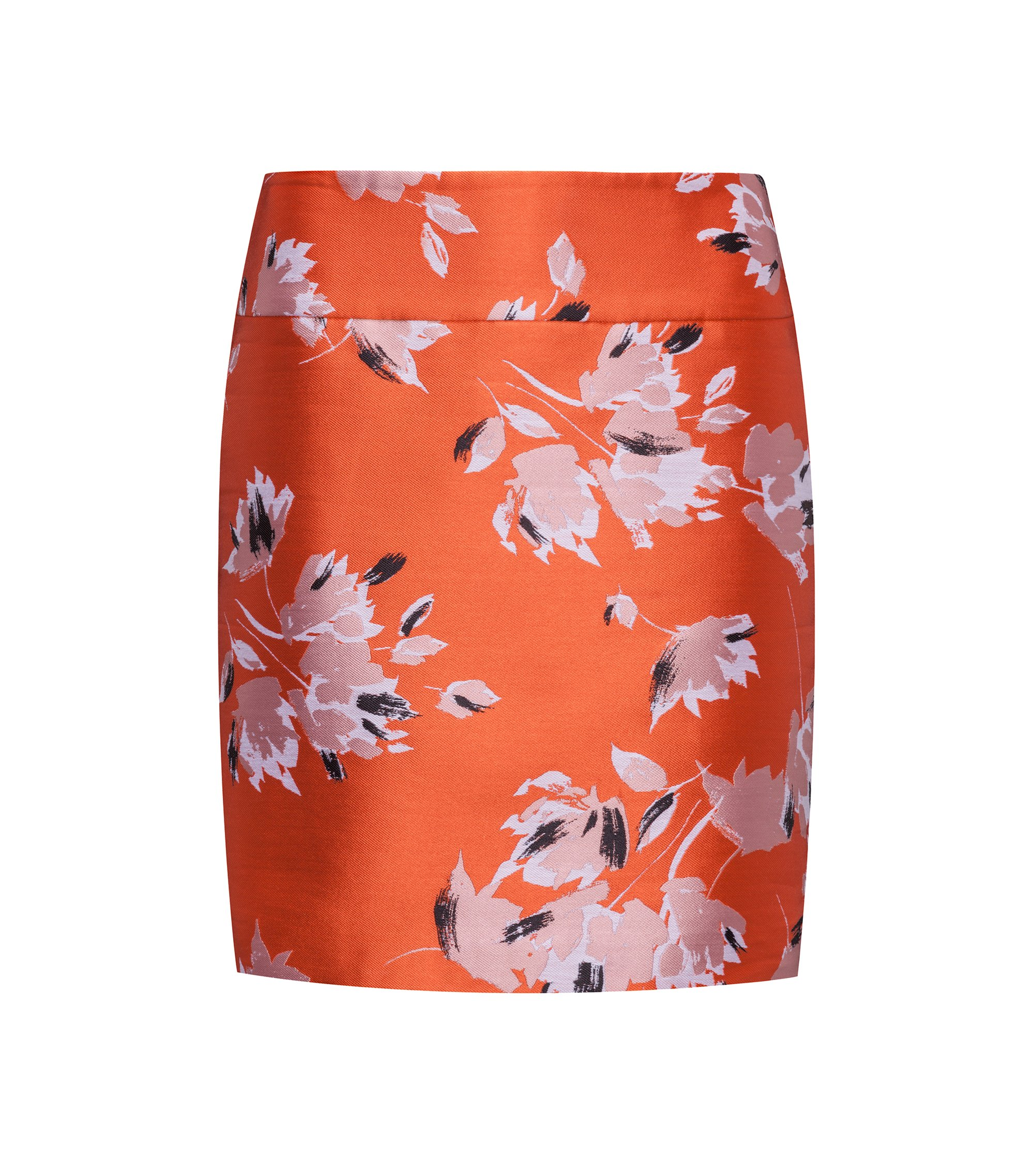 Mini skirt in floral jacquard, Patterned