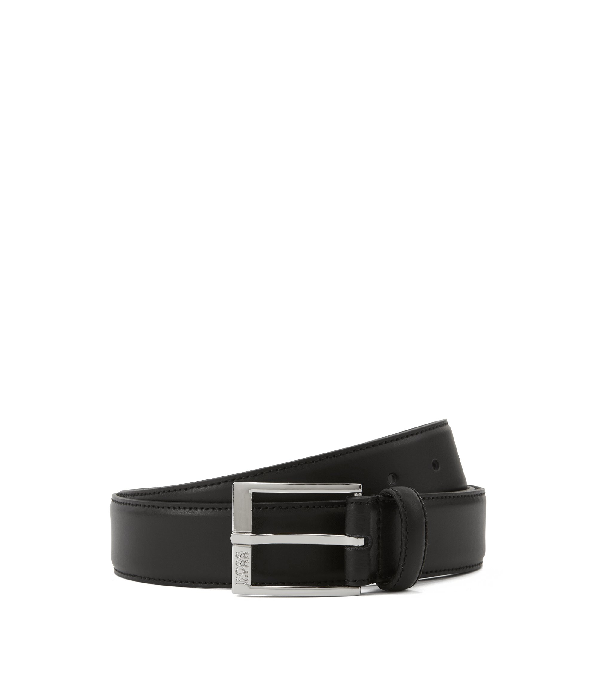 Smooth-leather belt with tonal stitching detail, Black