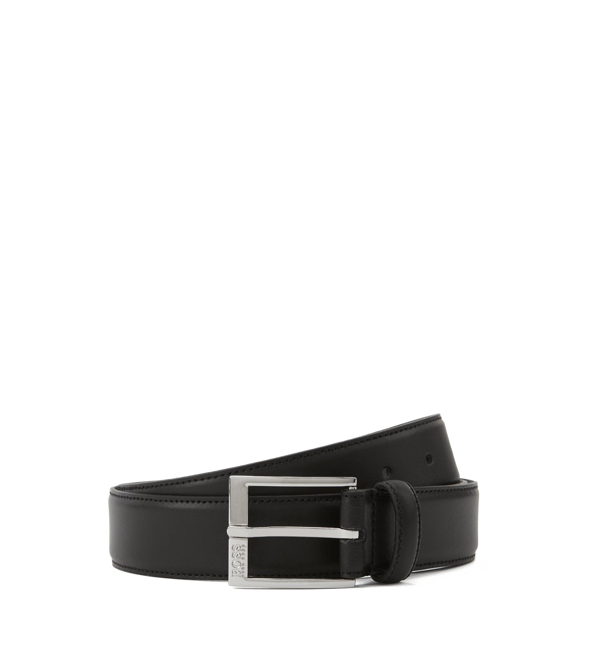 Gürtel aus Glattleder mit tonalen Naht-Details, Schwarz