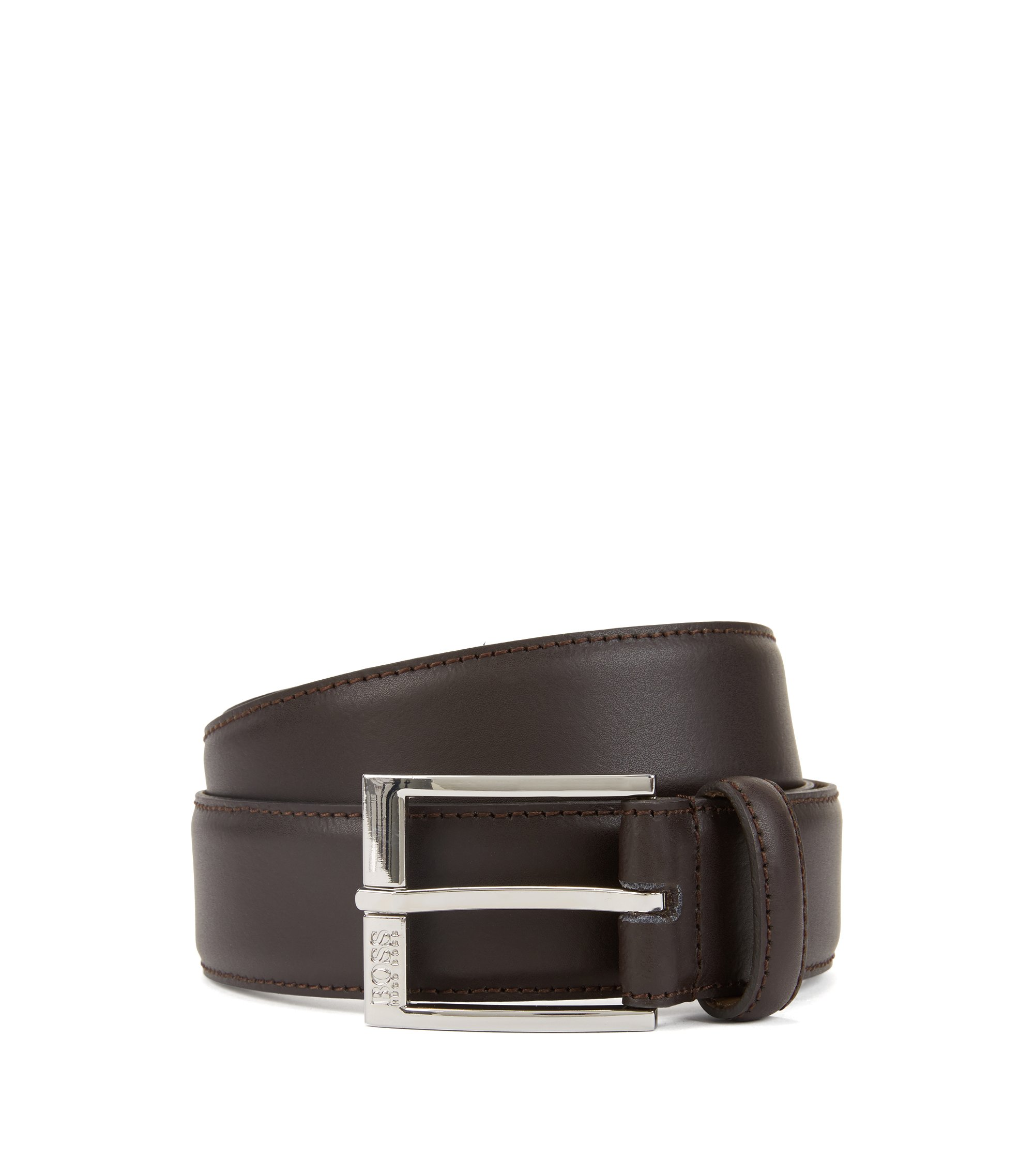 Smooth-leather belt with tonal stitching detail, Dark Brown