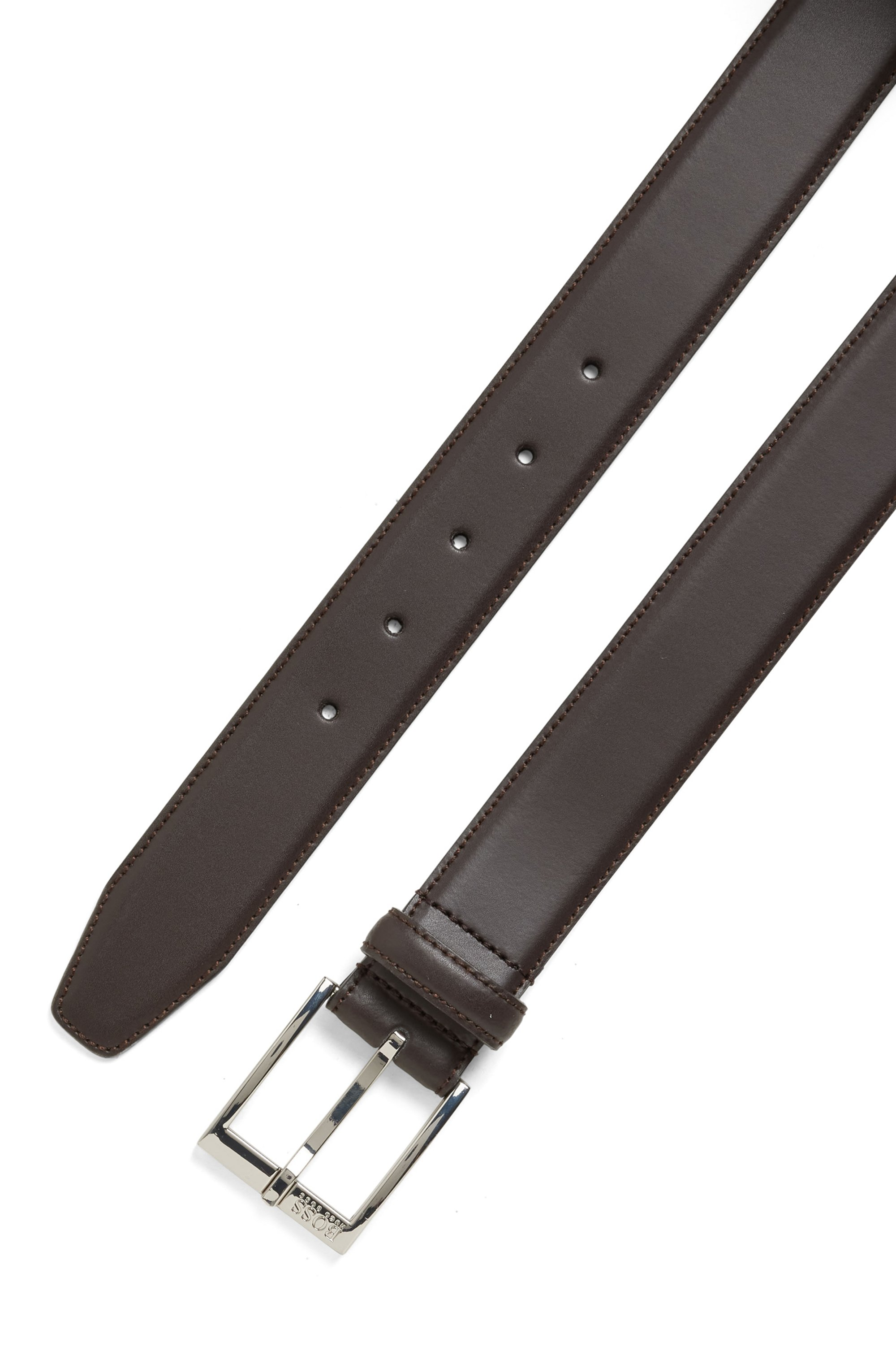 Smooth-leather belt with tonal stitching detail