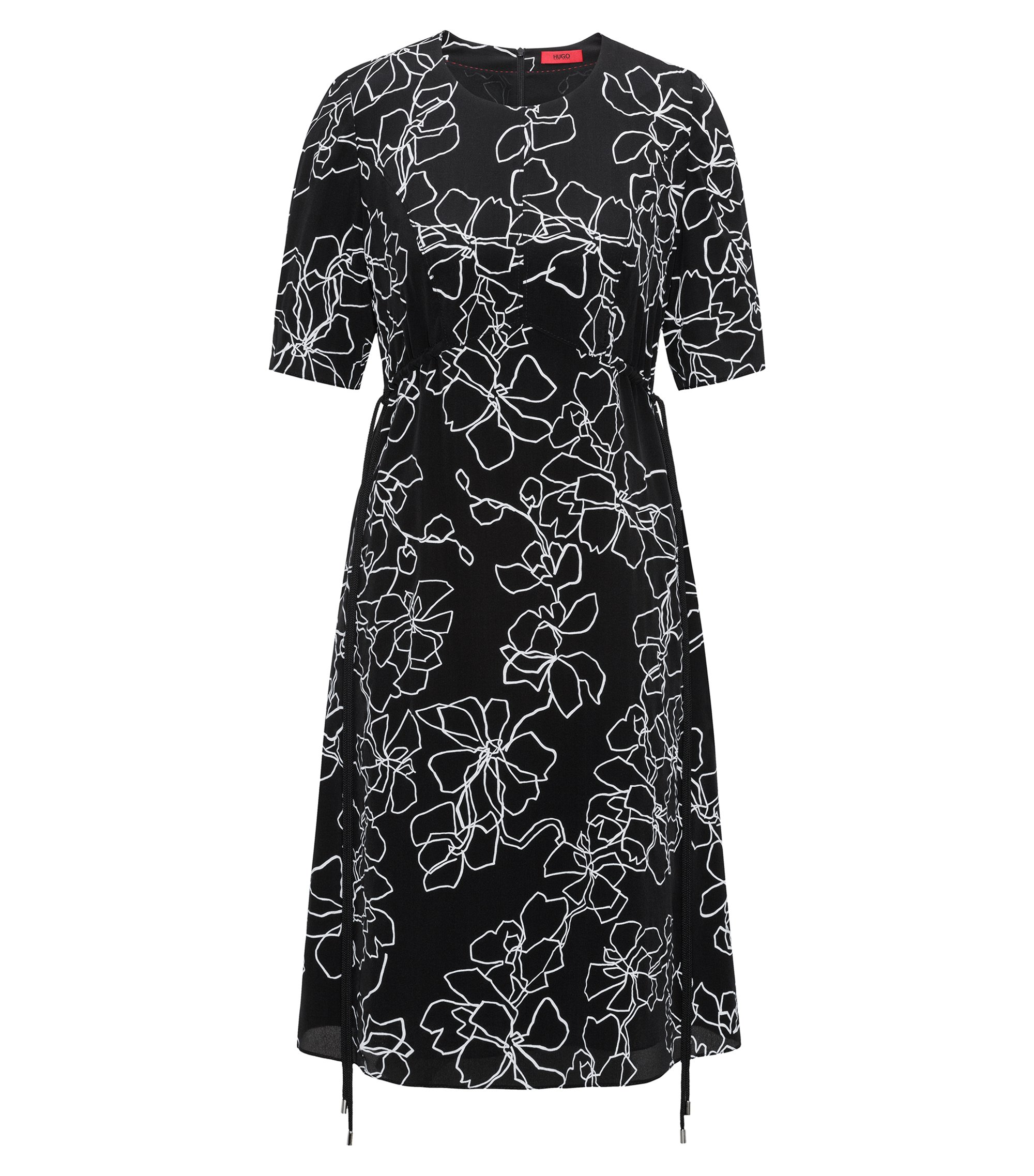 Short-sleeved midi dress in printed silk, Patterned