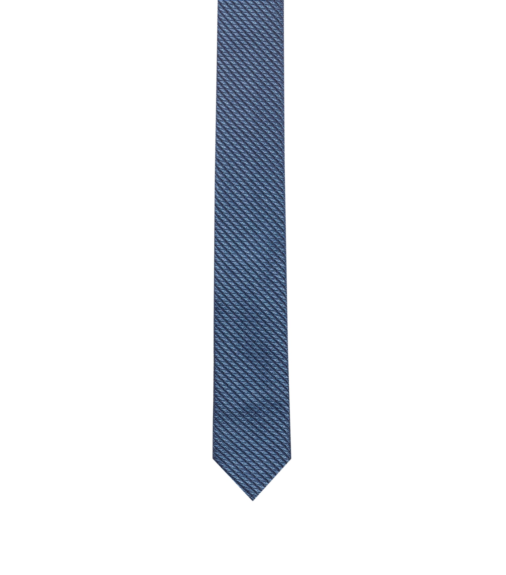 Modern silk-blend jacquard tie with stretch, Blue