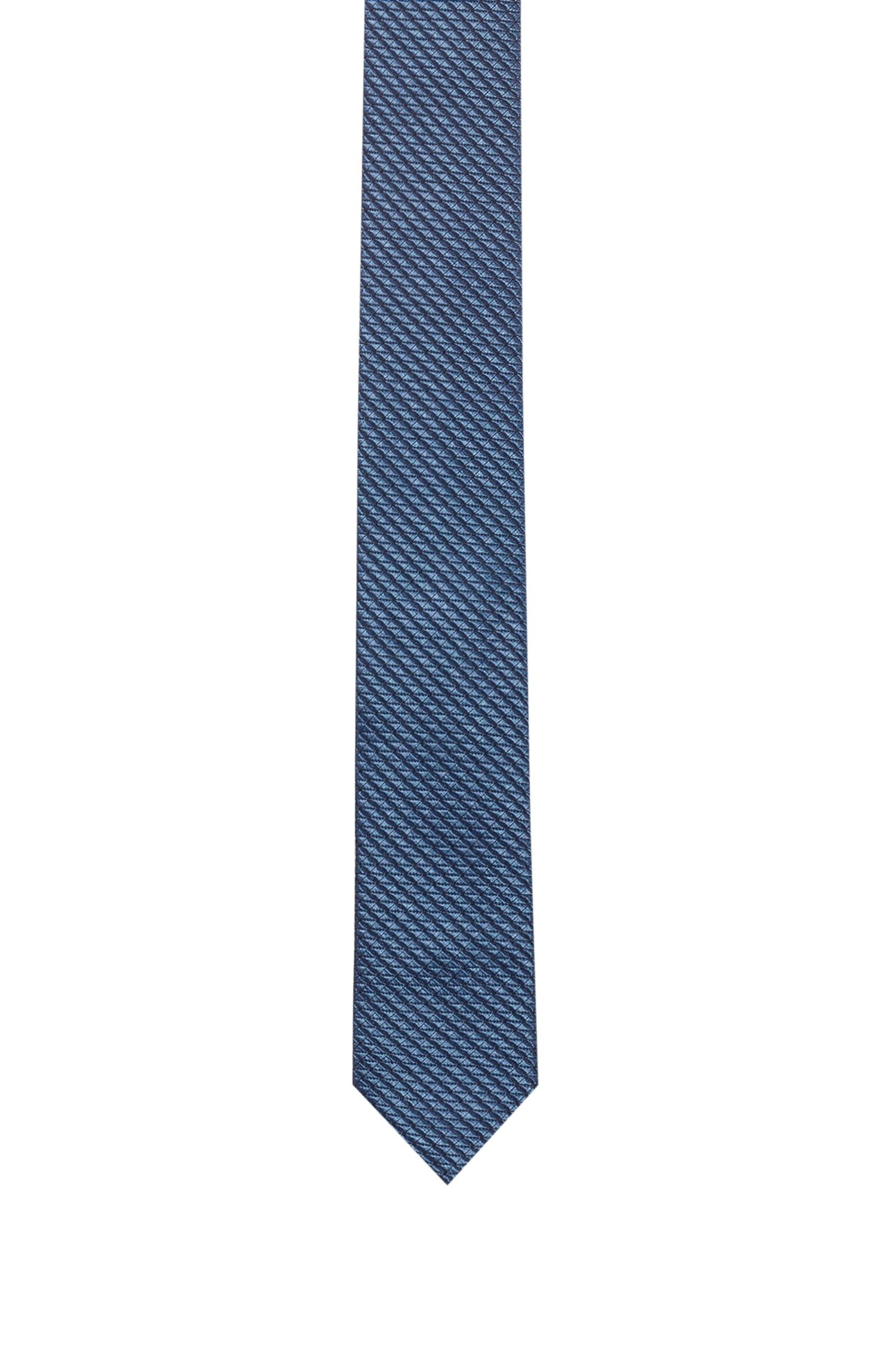 Modern silk-blend jacquard tie with stretch