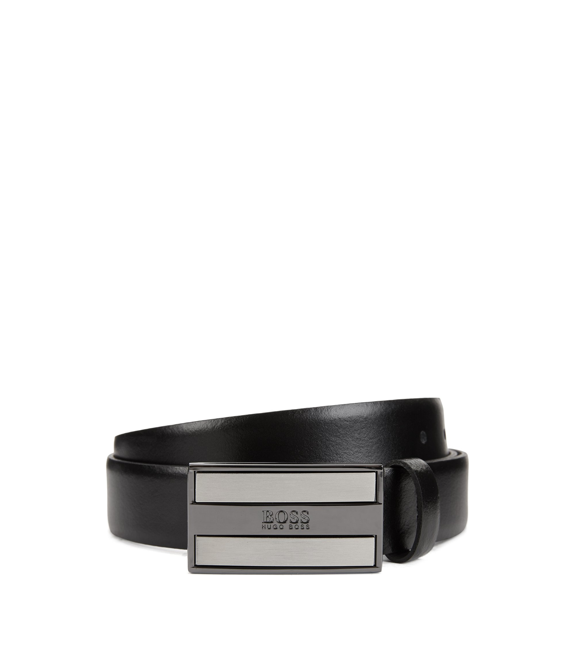 Smooth-leather belt with logo-engraved plaque buckle, Black