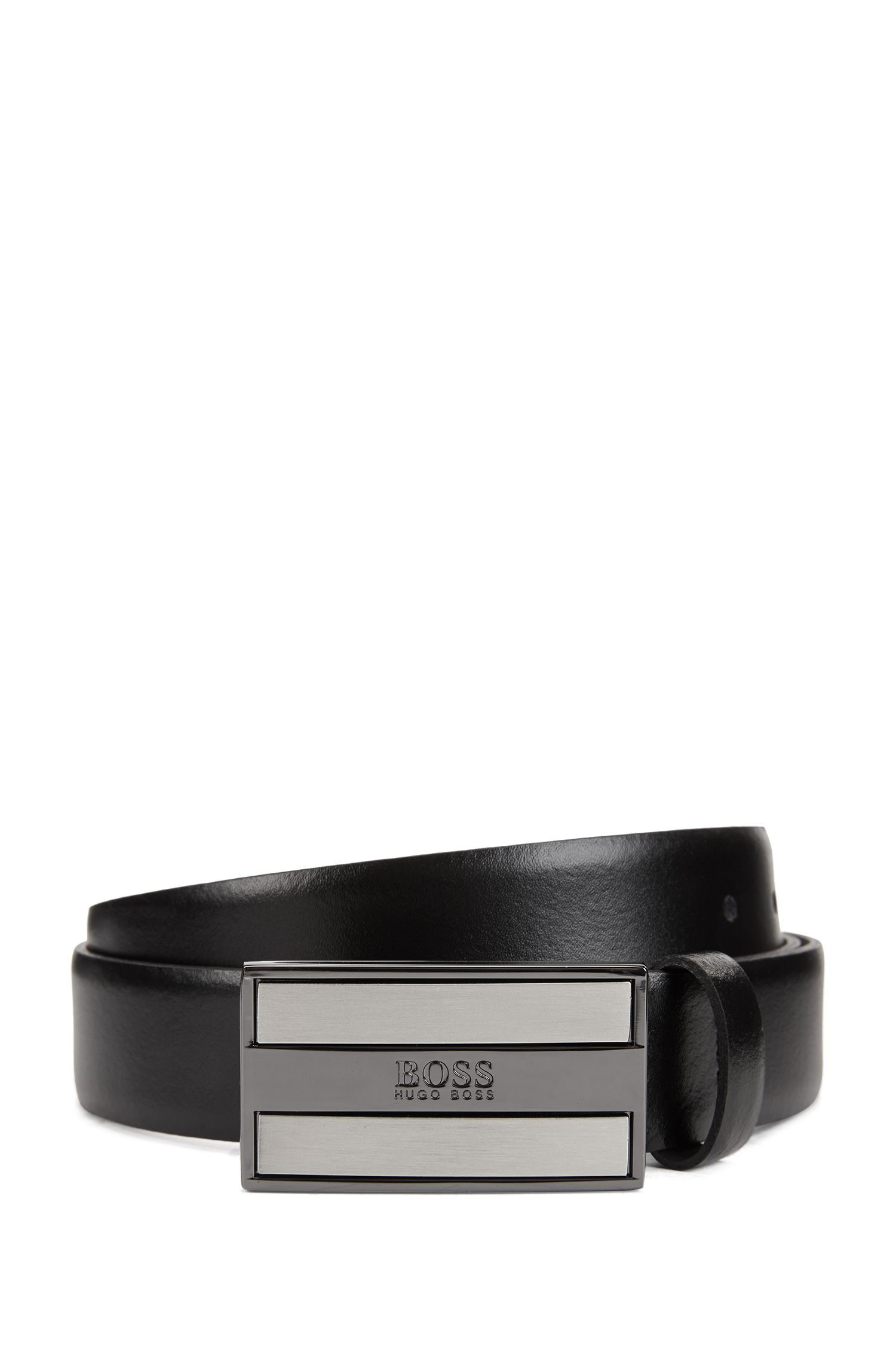 Smooth-leather belt with logo-engraved plaque buckle