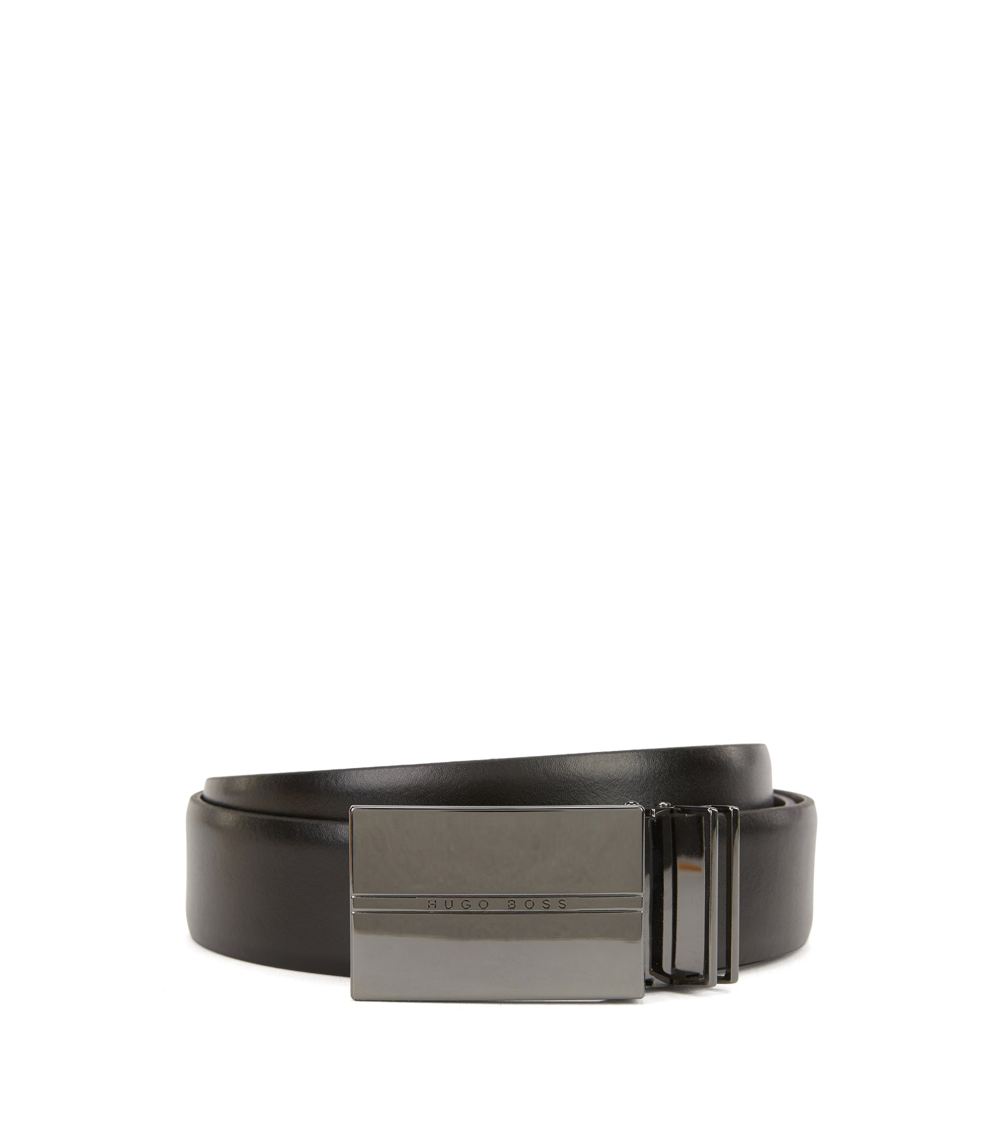 Coffret cadeau avec ceinture réversible en cuir lisse et boucle à double passant en métal poli couleur acier, Noir