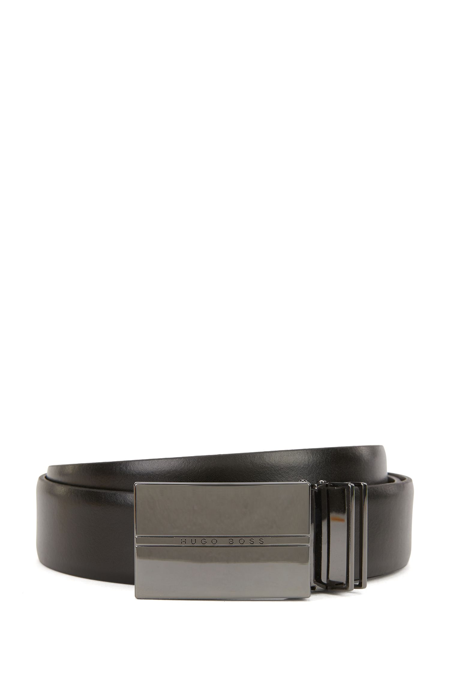 Reversible belt in smooth leather with polished gunmetal double-buckle gift set