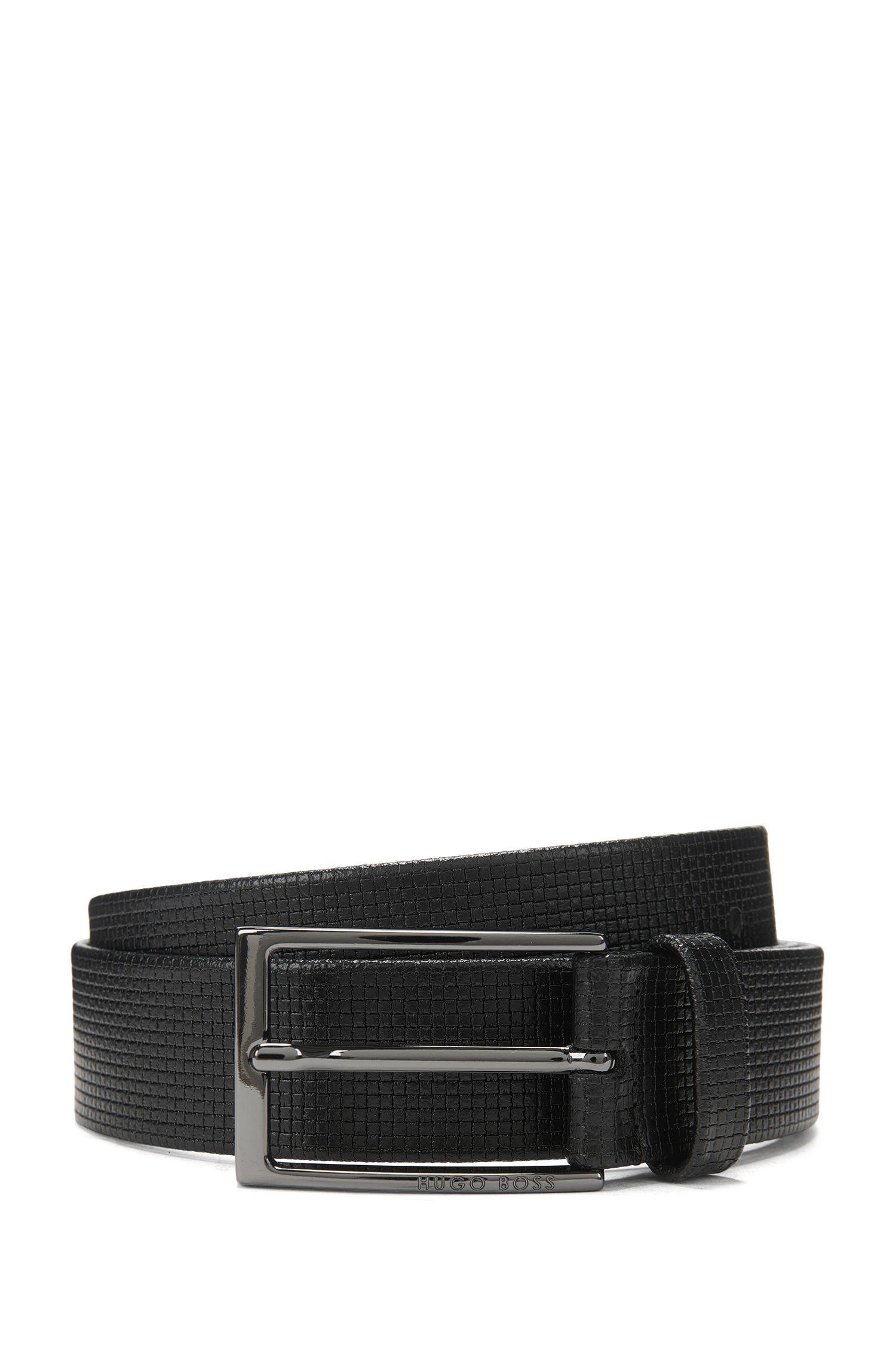 Geprägter Ledergürtel mit polierten Metall-Details