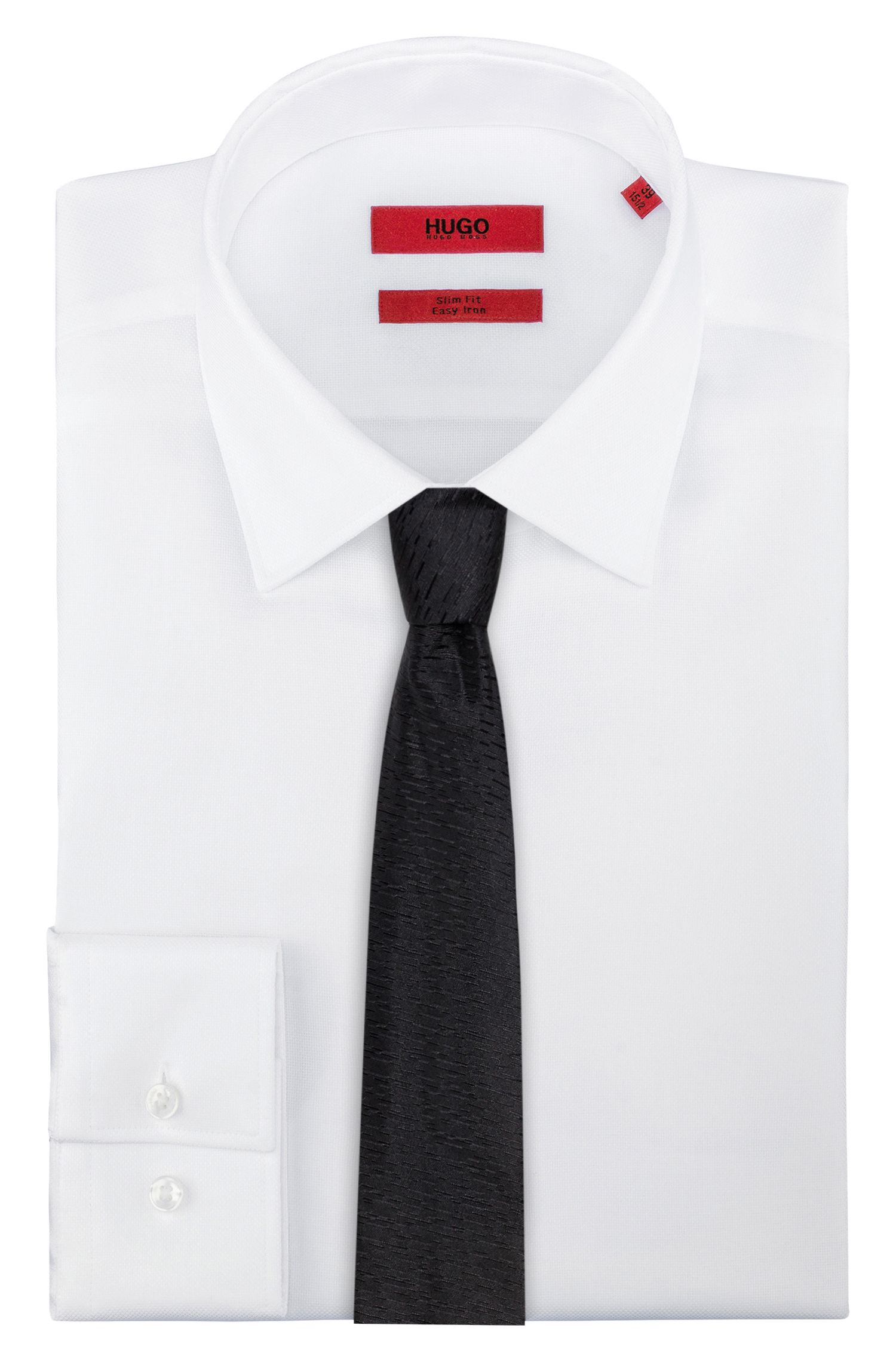 Silk jacquard tie with triple stripe tip