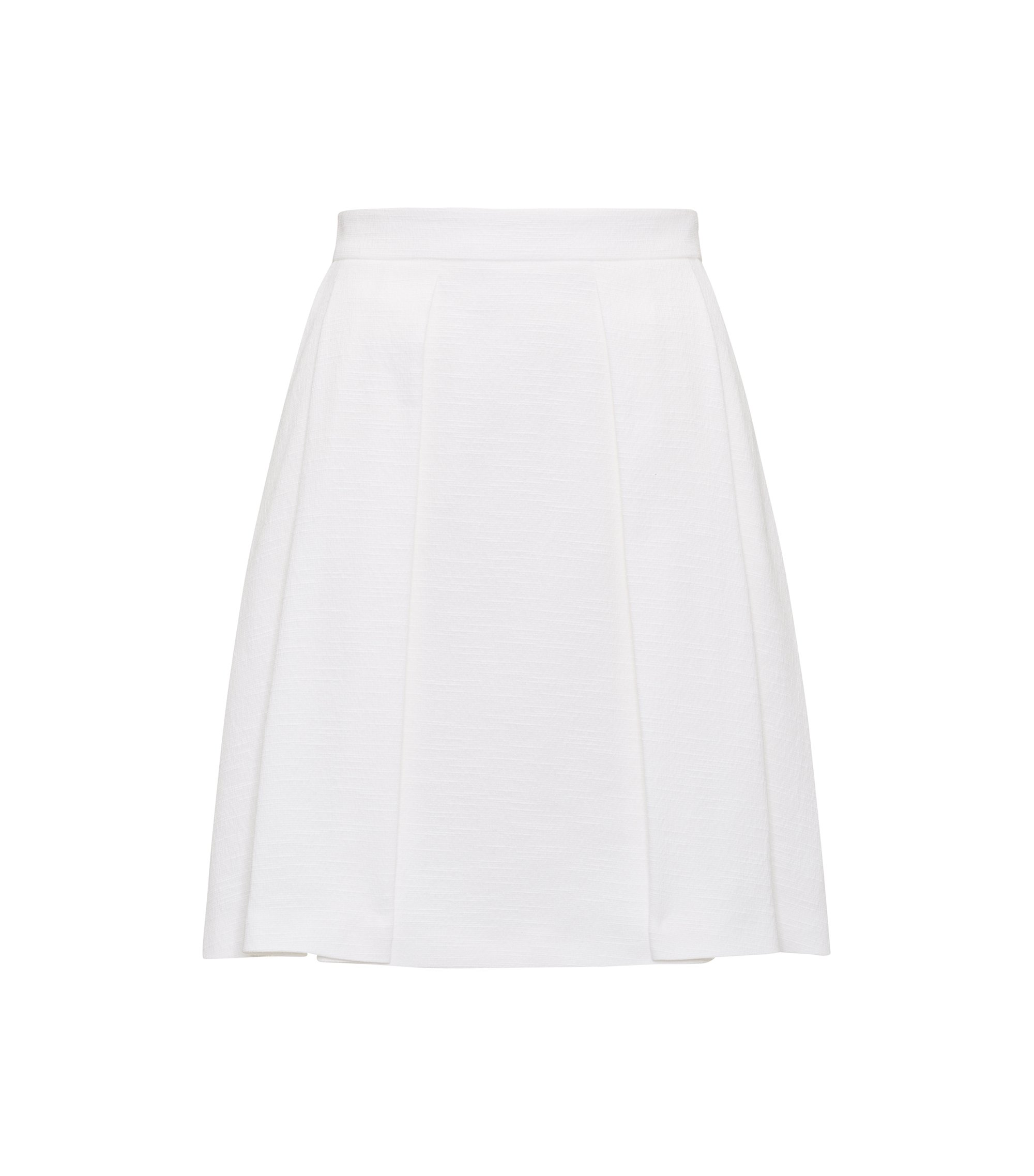 A-line pleated skirt in a cotton blend, White