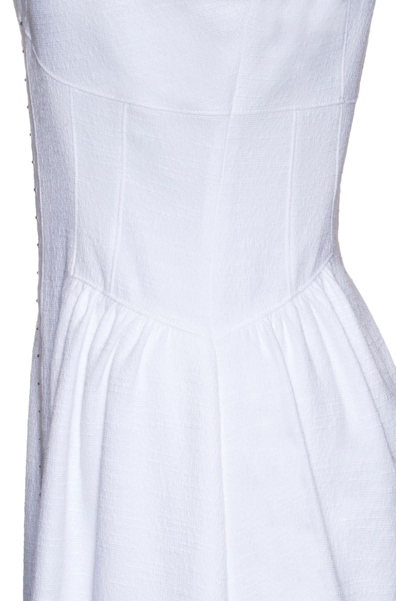 Vestido en mezcla de algodón con cierre de corchete