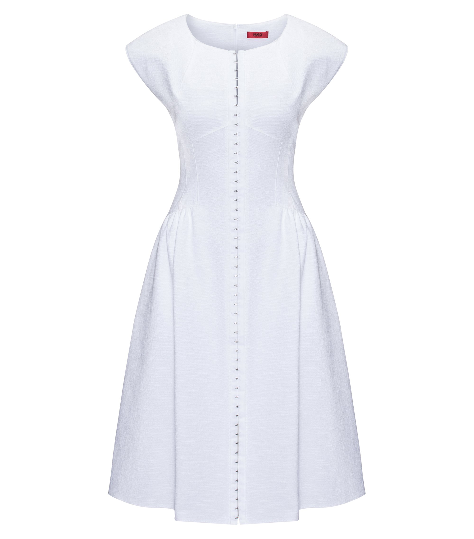 Cotton-blend dress with hook-and-eye closure, White