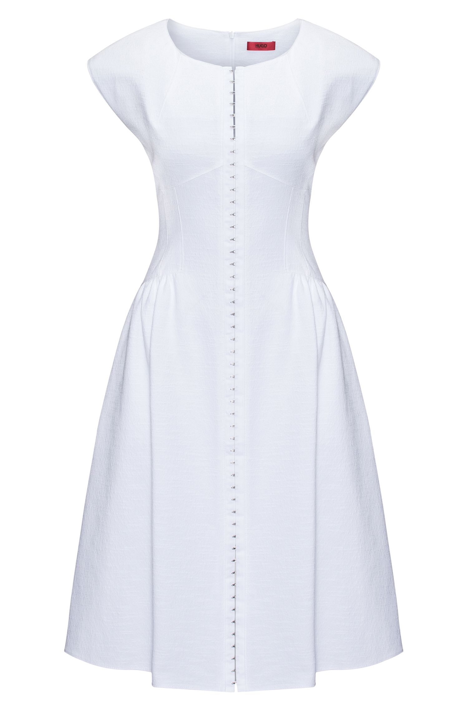 Cotton-blend dress with hook-and-eye closure