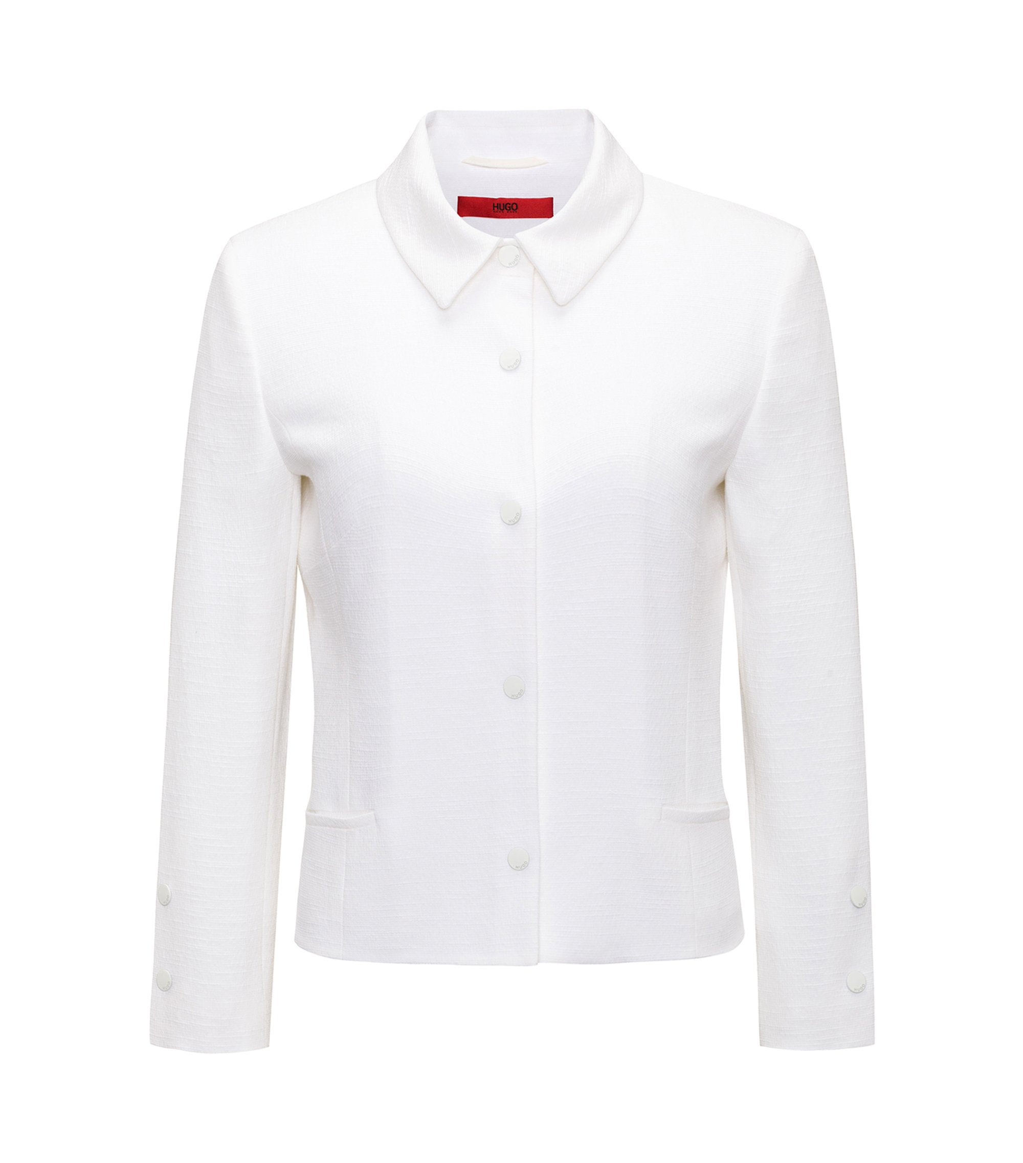 Blazer court Regular Fit à boutons-pression, Blanc