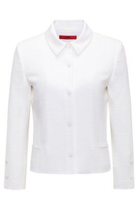 Regular-fit cropped jacket with press-stud closures, White