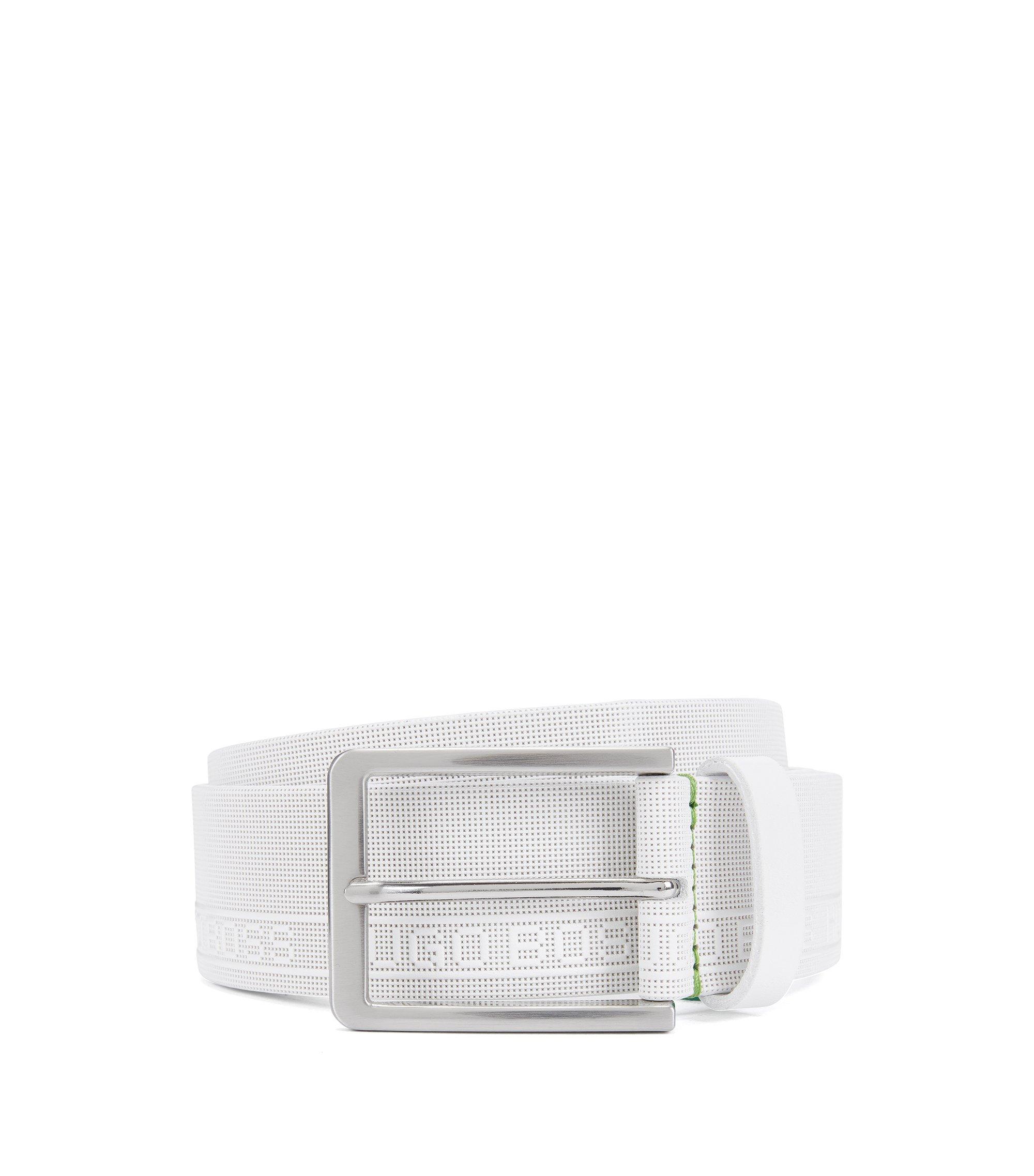 Cinturón de piel con textura y el logo grabado, Blanco