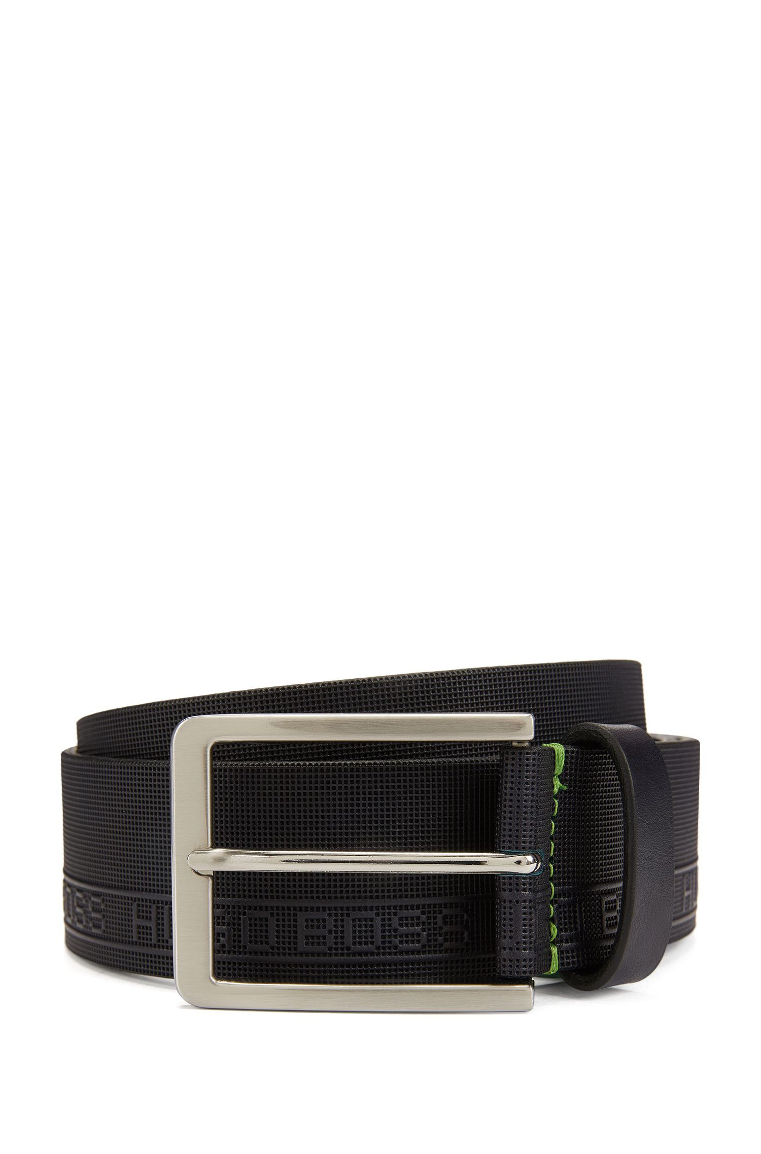 Leather belt with logo-embossed texture