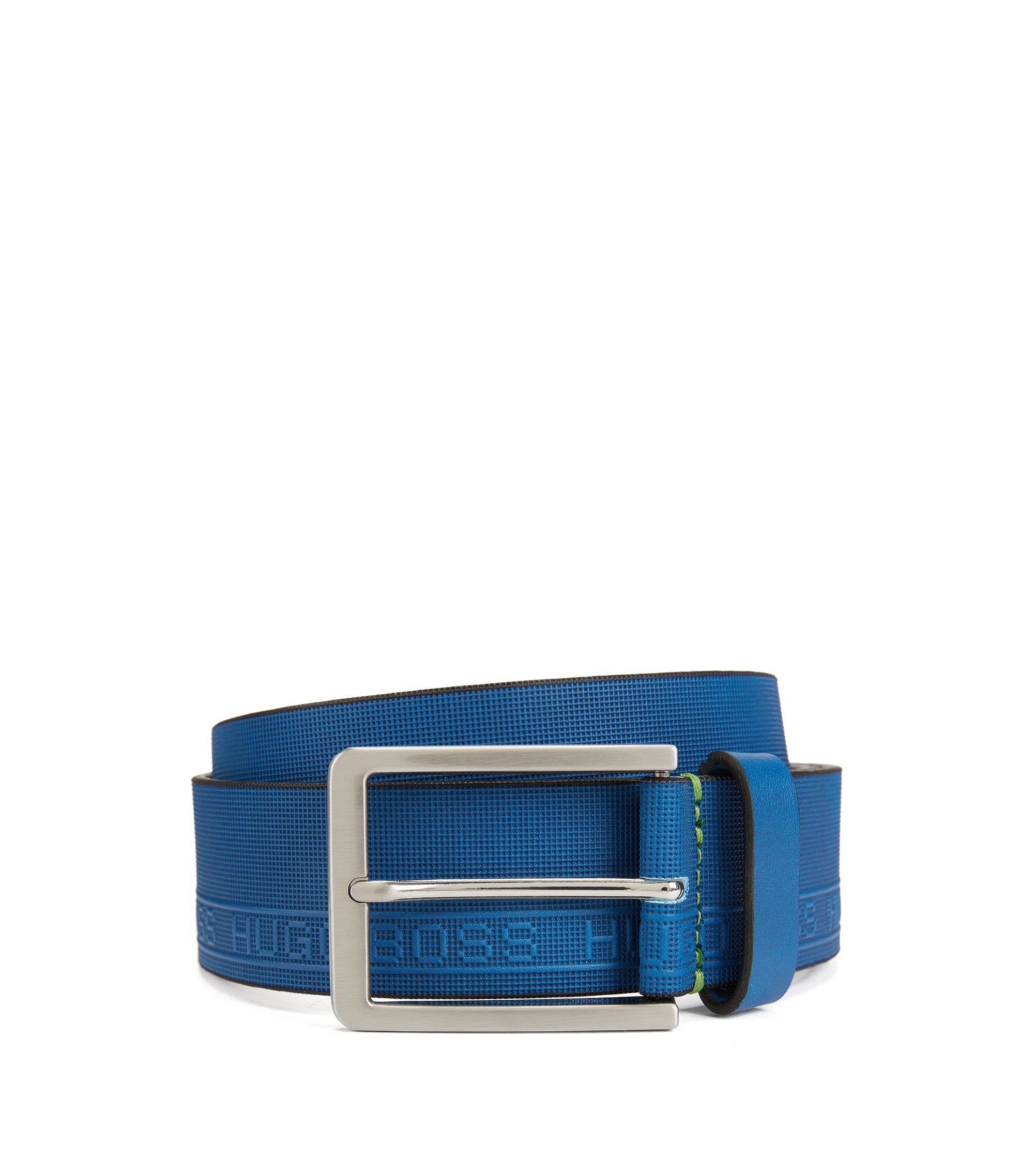 Leather belt with logo-embossed texture, Blue
