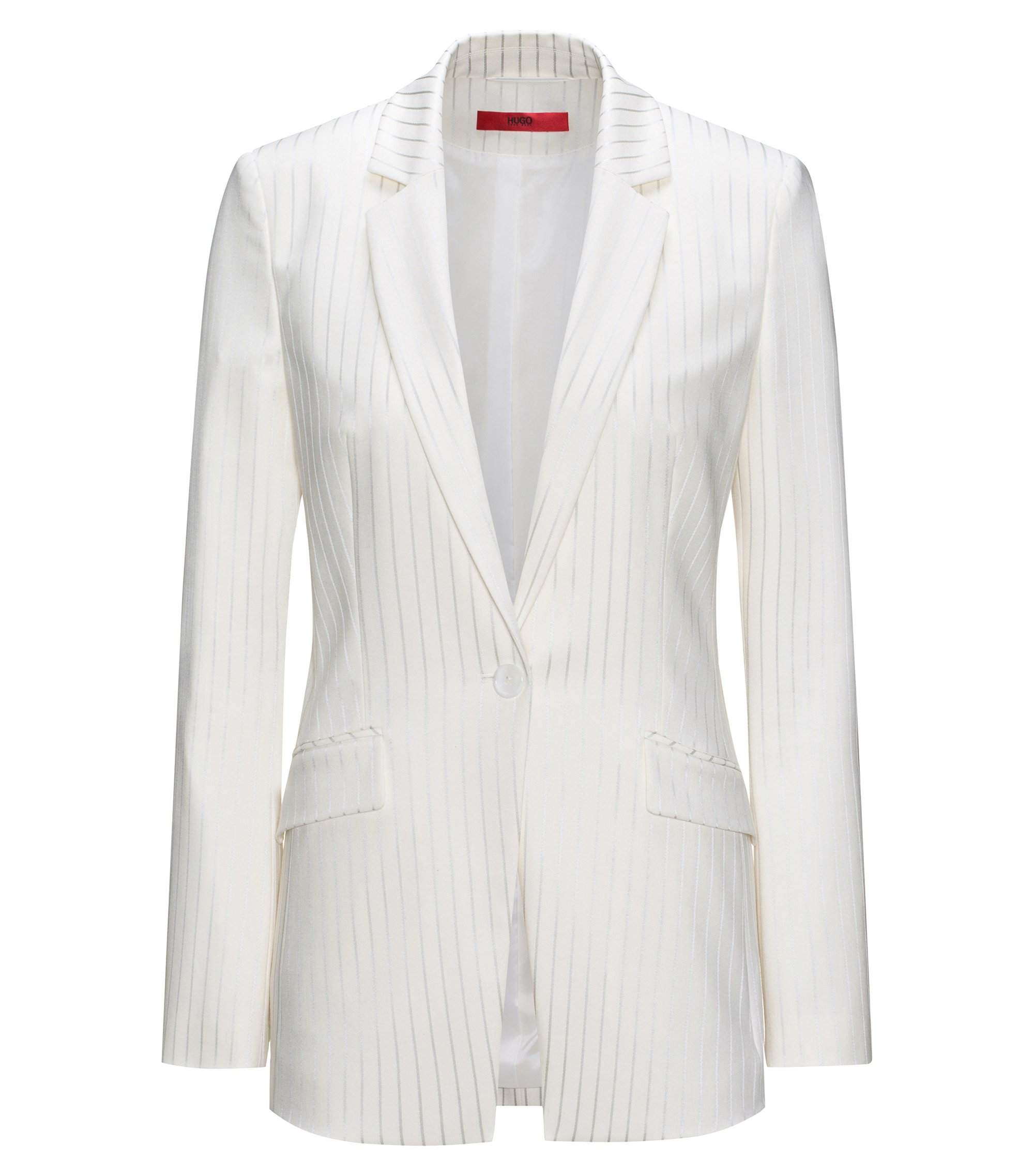 Regular-fit jacket with metallic pinstripes, Natural