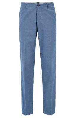 Chino Regular Fit en sergé de coton stretch, Bleu