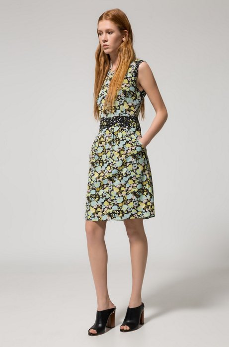 Cap-sleeved floral dress in stretch fabric HUGO BOSS jmzJAey