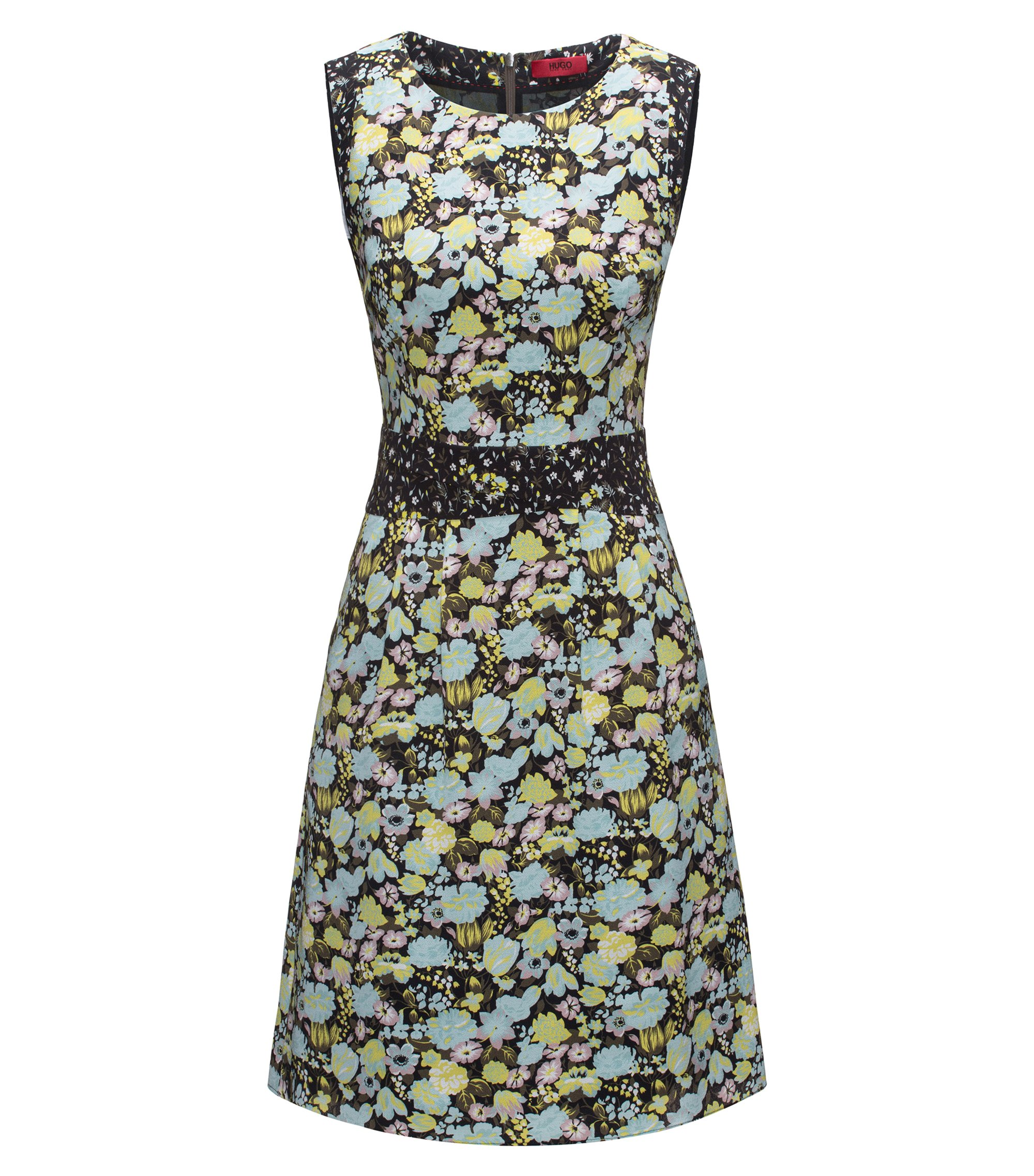 Cap-sleeved floral dress in stretch fabric, Patterned