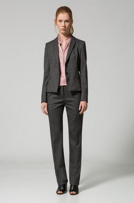 Regular-fit suit trousers in structured stretch wool HUGO BOSS RXGy0