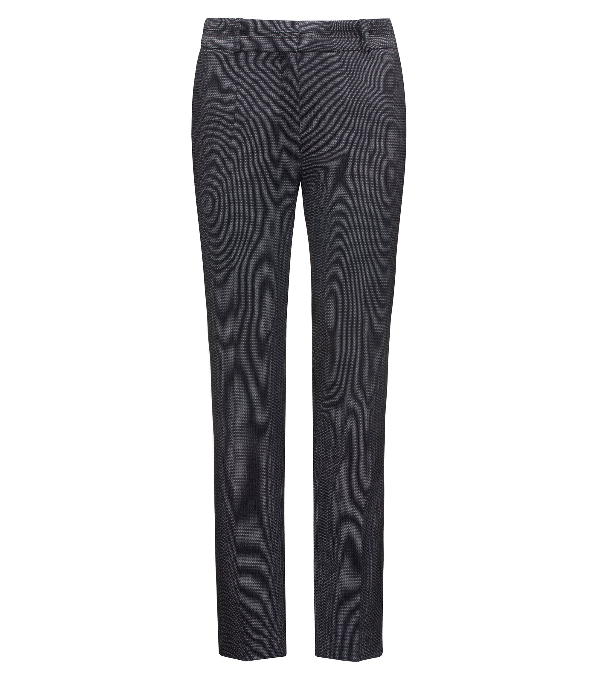 Regular-fit suit trousers in structured stretch wool, Patterned
