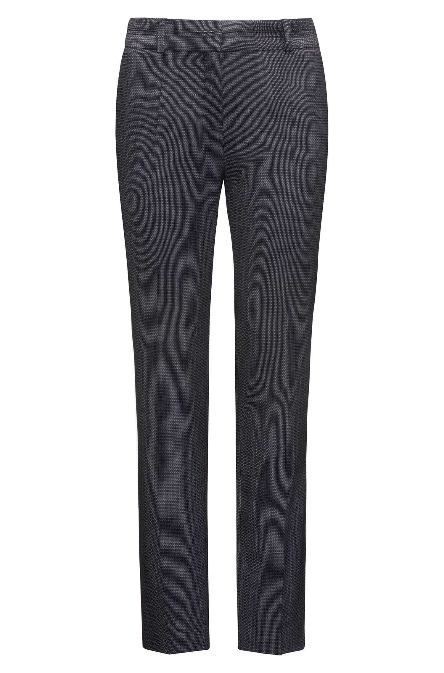 Regular-Fit Hose aus strukturierter Wolle mit Elasthan-Anteil